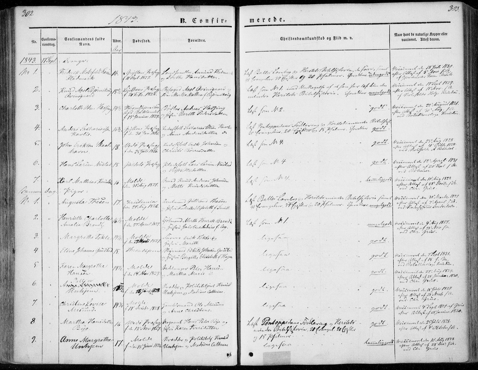 SAT, Ministerialprotokoller, klokkerbøker og fødselsregistre - Møre og Romsdal, 558/L0689: Ministerialbok nr. 558A03, 1843-1872, s. 302-303