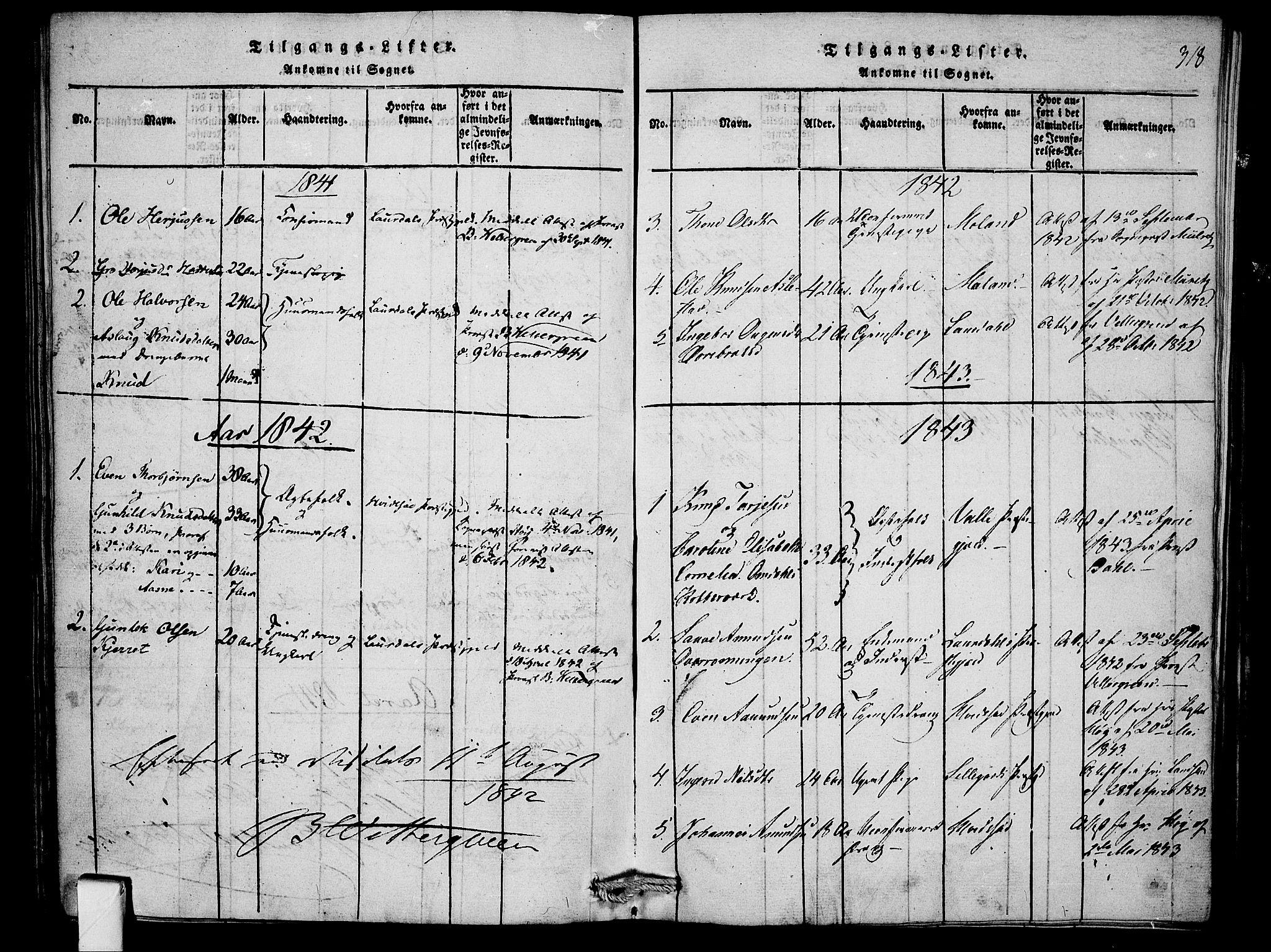 SAKO, Mo kirkebøker, F/Fb/L0001: Ministerialbok nr. II 1, 1814-1844, s. 318