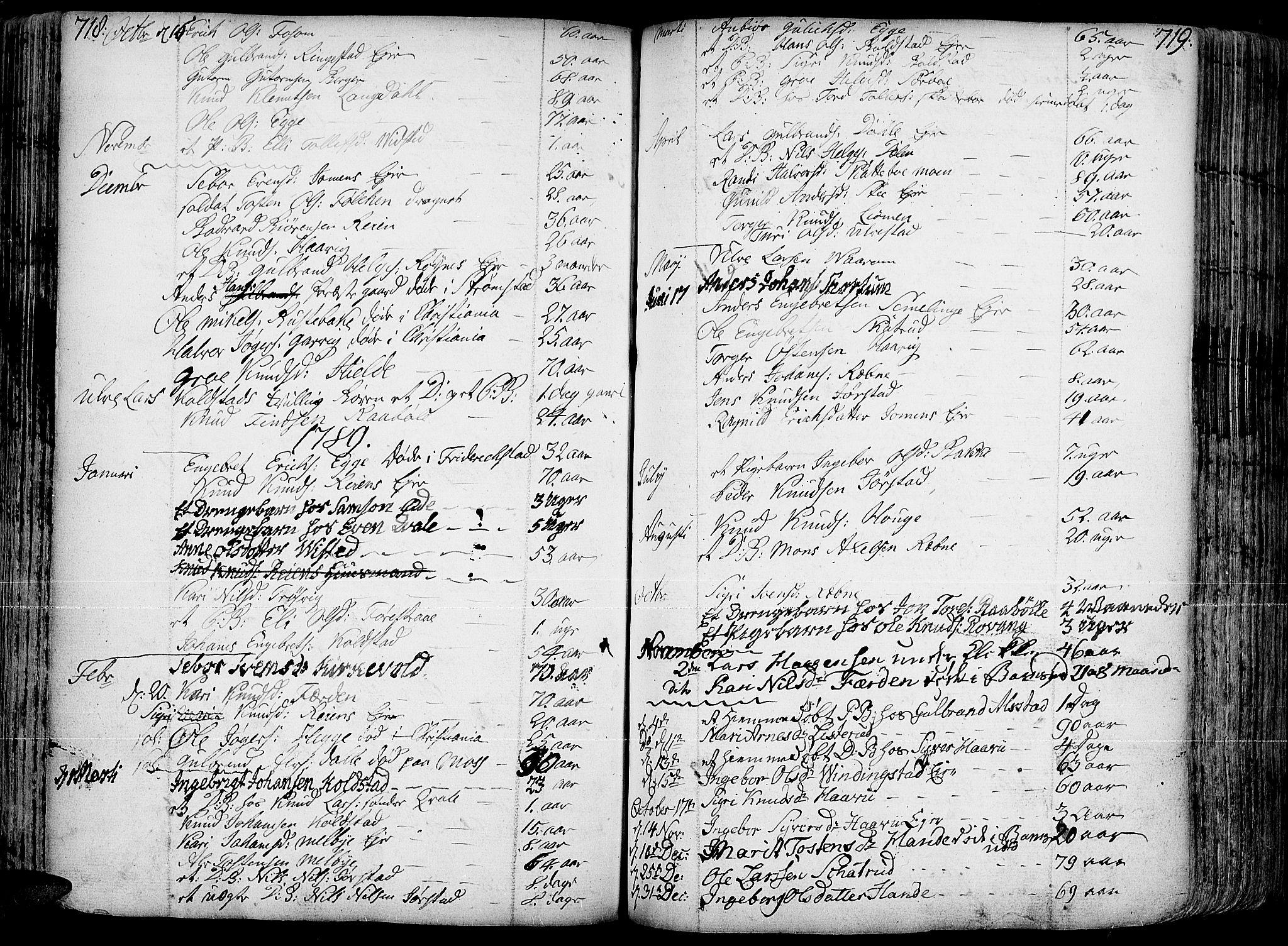 SAH, Slidre prestekontor, Ministerialbok nr. 1, 1724-1814, s. 718-719