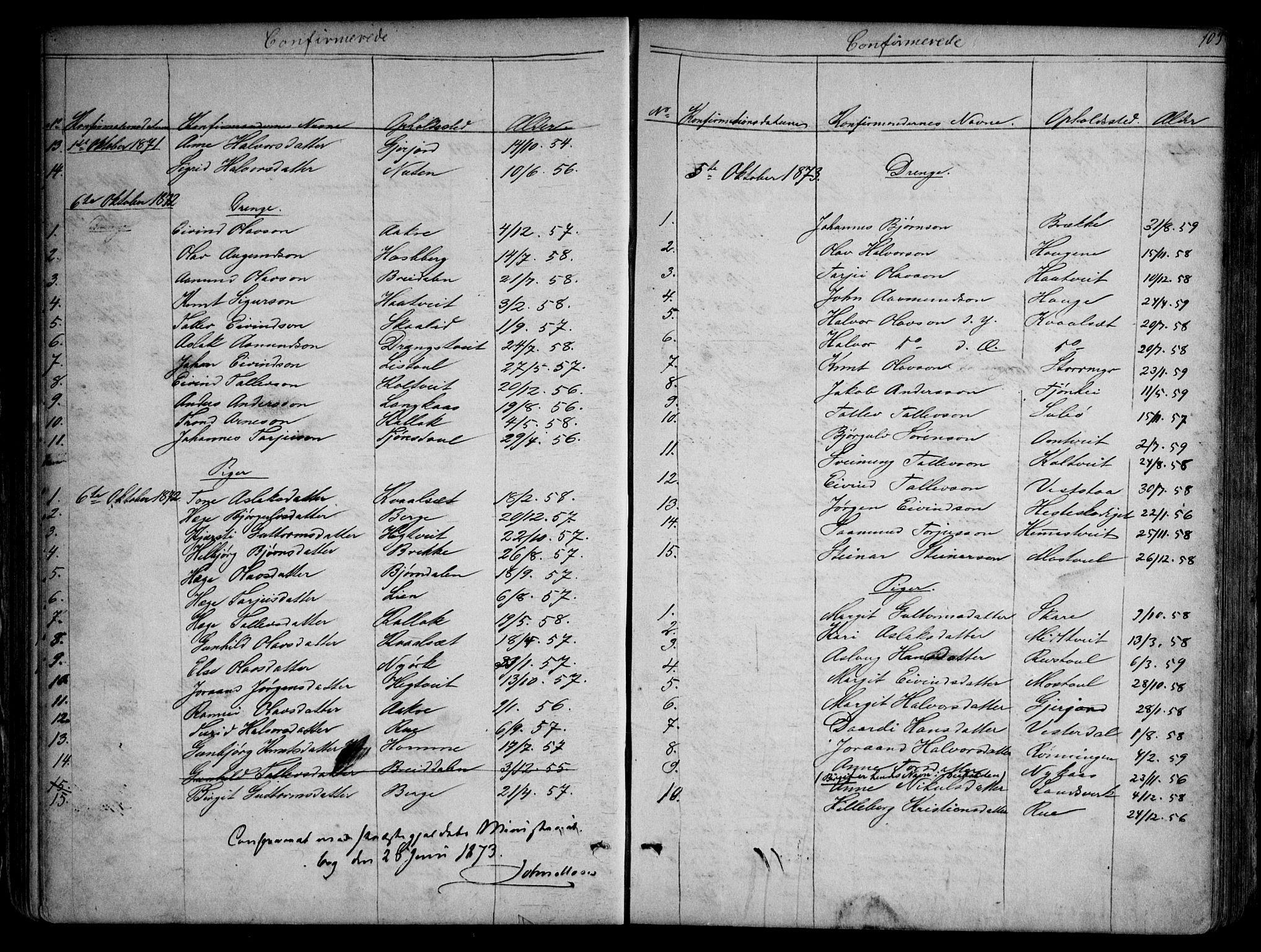 SAKO, Kviteseid kirkebøker, G/Gb/L0002: Klokkerbok nr. II 2, 1850-1892, s. 103
