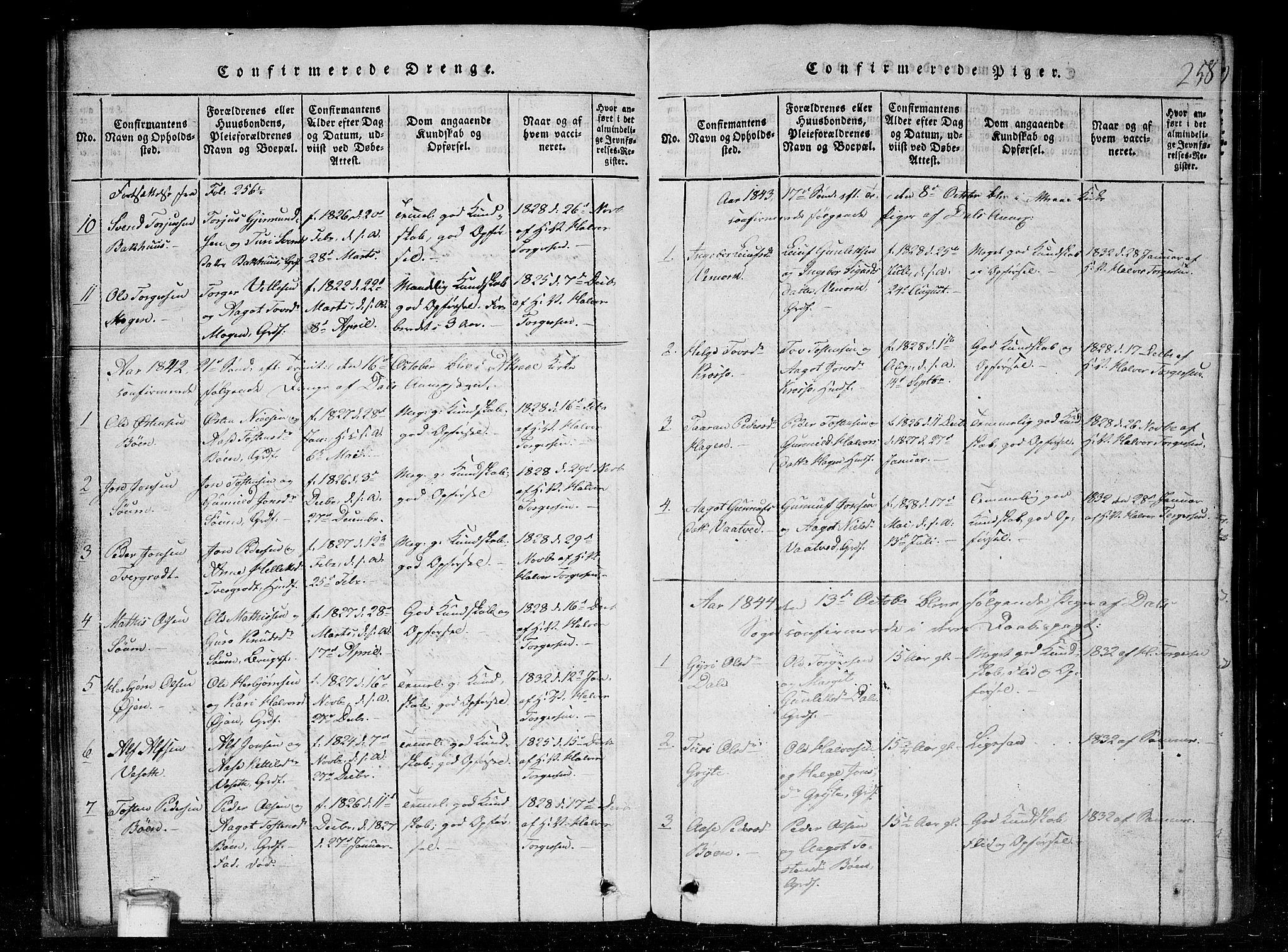 SAKO, Tinn kirkebøker, G/Gc/L0001: Klokkerbok nr. III 1, 1815-1879, s. 258