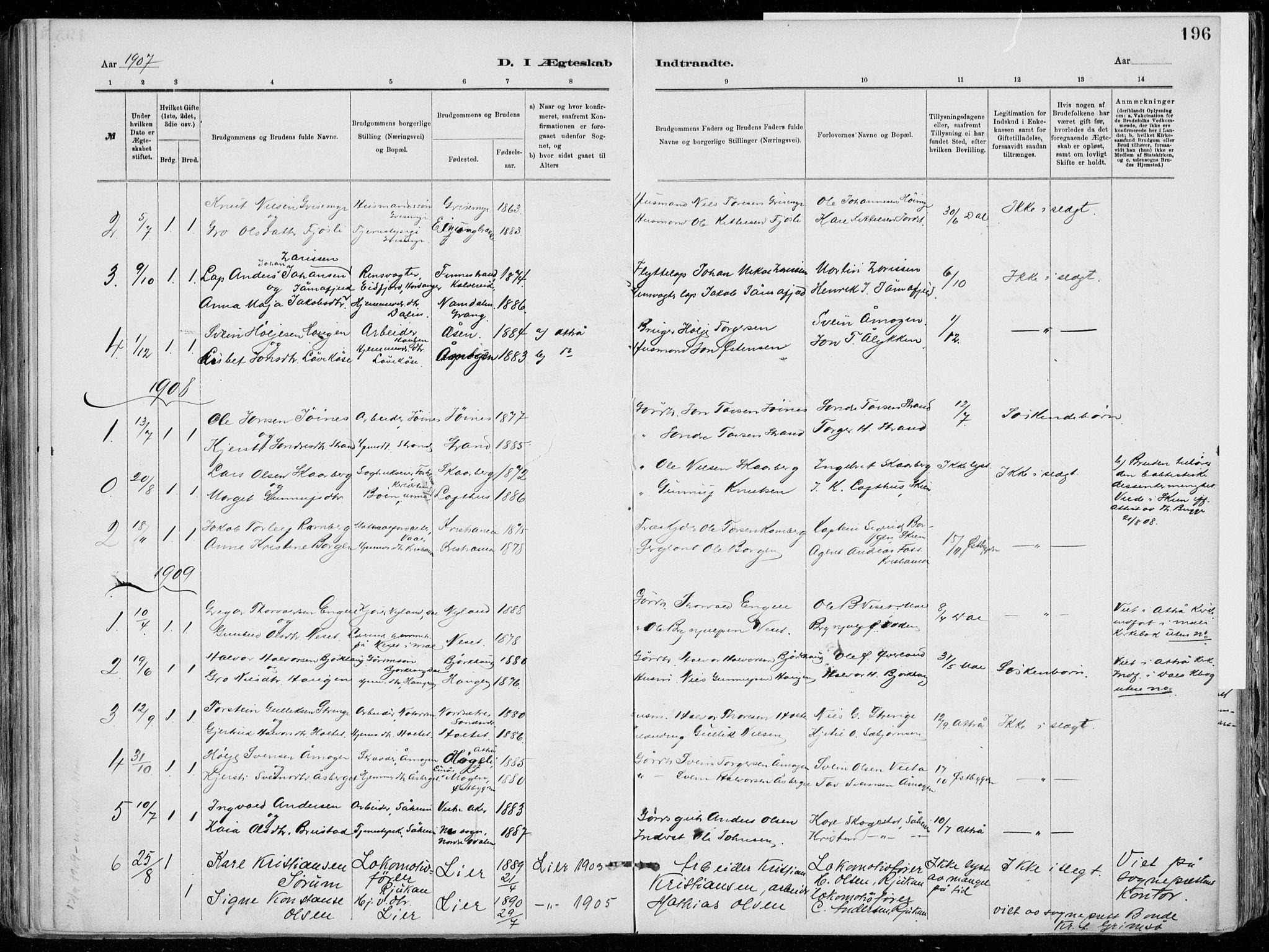 SAKO, Tinn kirkebøker, F/Fa/L0007: Ministerialbok nr. I 7, 1878-1922, s. 196
