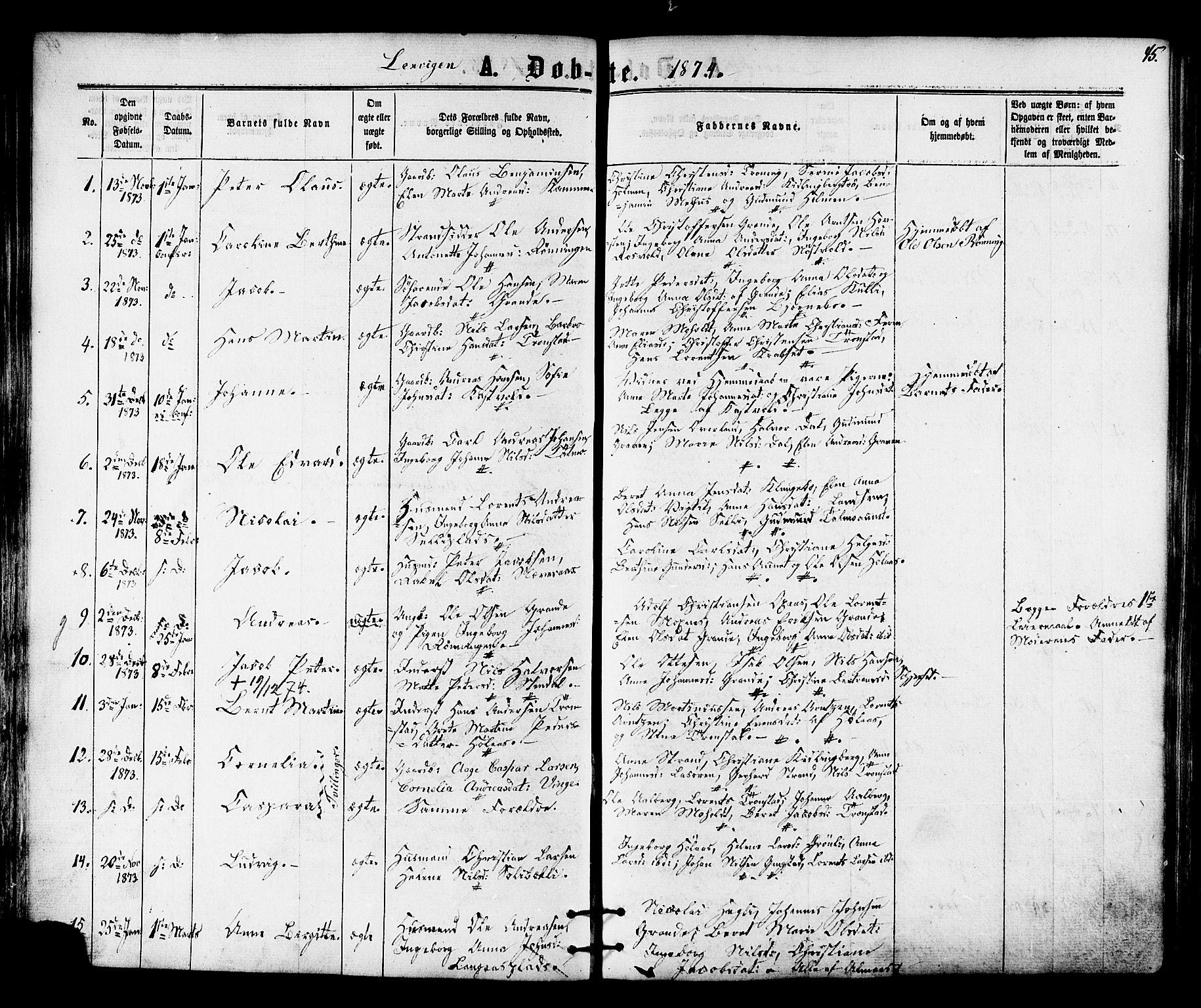 SAT, Ministerialprotokoller, klokkerbøker og fødselsregistre - Nord-Trøndelag, 701/L0009: Ministerialbok nr. 701A09 /1, 1864-1882, s. 45