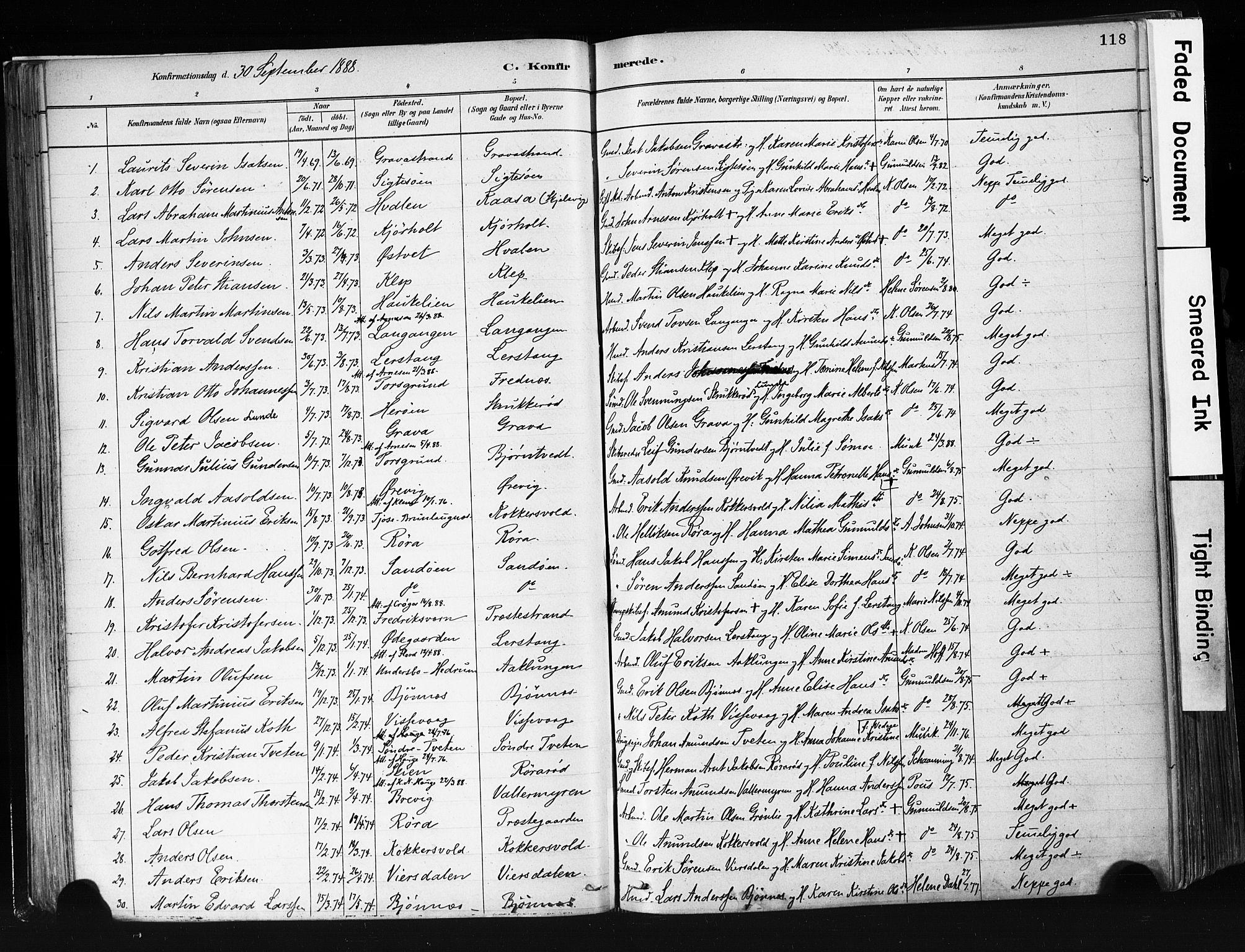 SAKO, Eidanger kirkebøker, F/Fa/L0012: Ministerialbok nr. 12, 1879-1900, s. 118