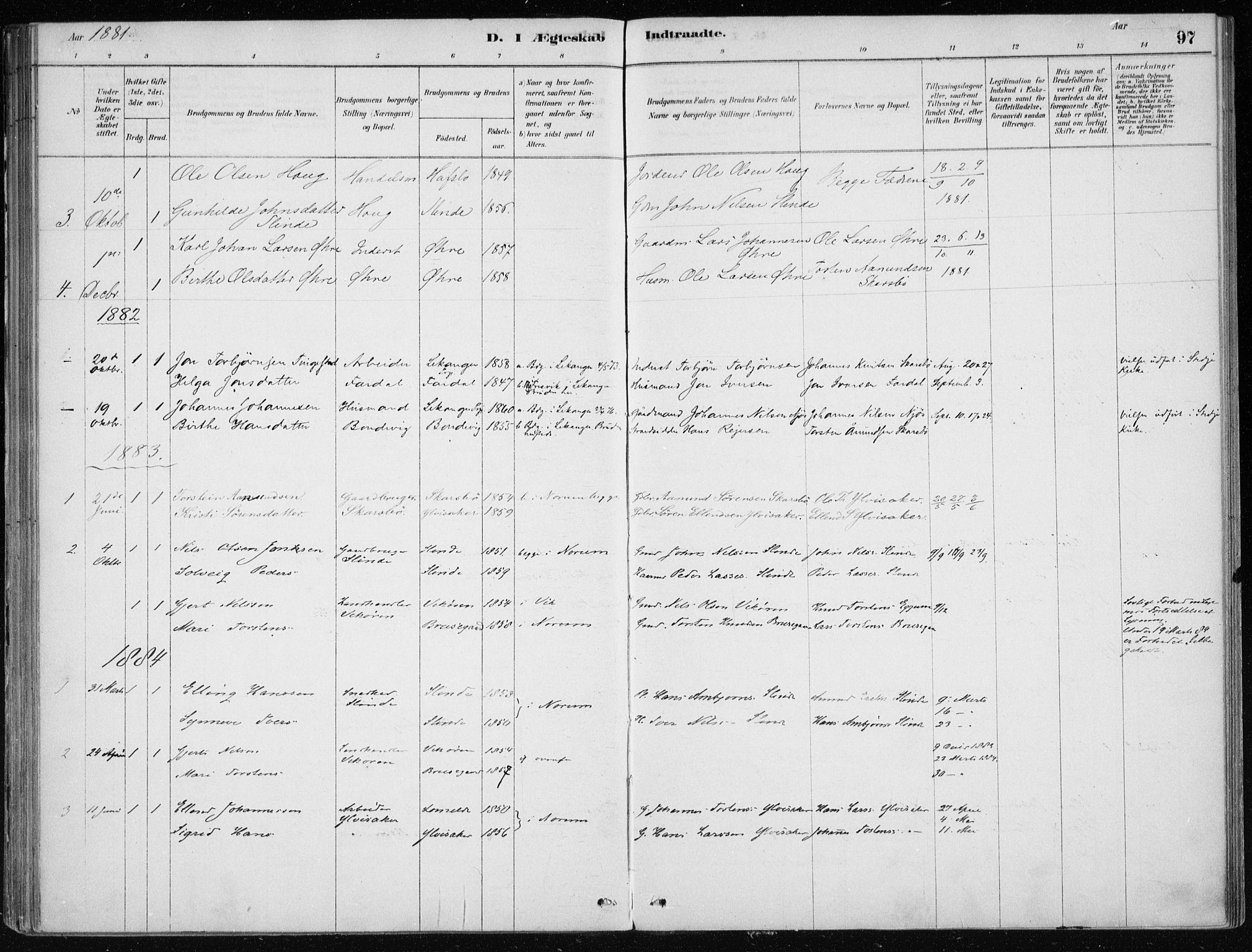 SAB, Sogndal Sokneprestembete, H/Haa/Haac/L0001: Ministerialbok nr. C 1, 1878-1907, s. 97