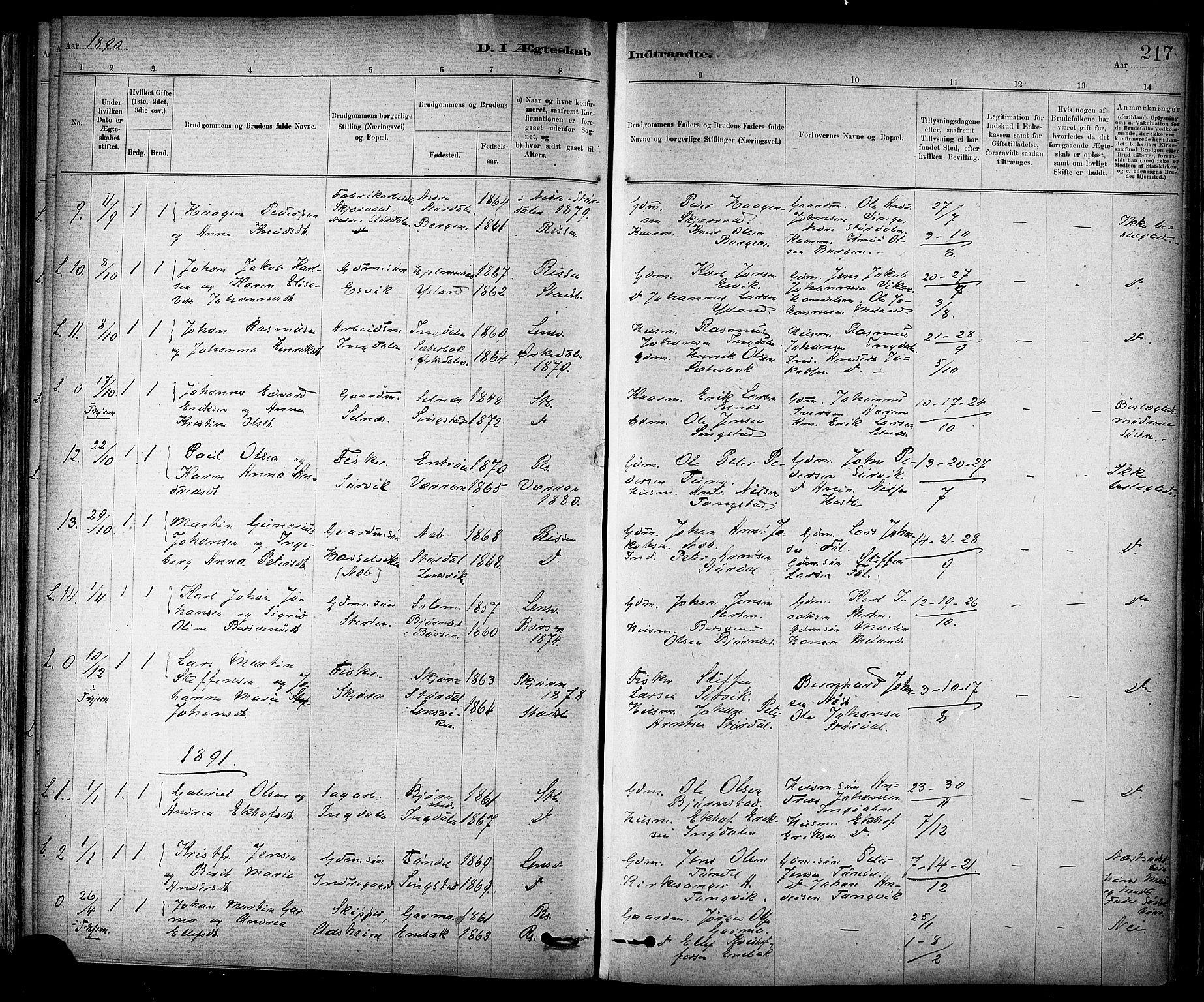 SAT, Ministerialprotokoller, klokkerbøker og fødselsregistre - Sør-Trøndelag, 647/L0634: Ministerialbok nr. 647A01, 1885-1896, s. 217