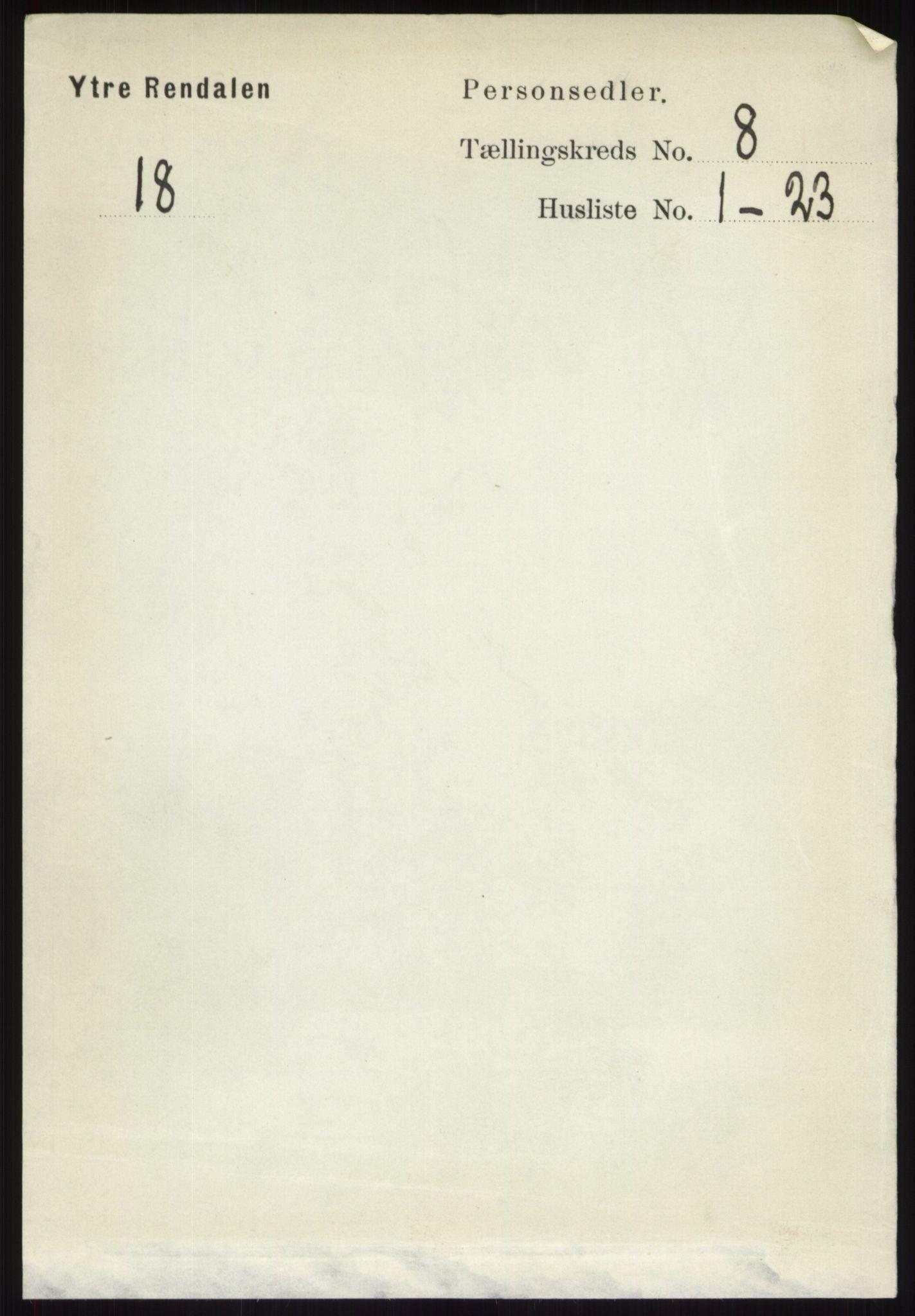 RA, Folketelling 1891 for 0432 Ytre Rendal herred, 1891, s. 2093
