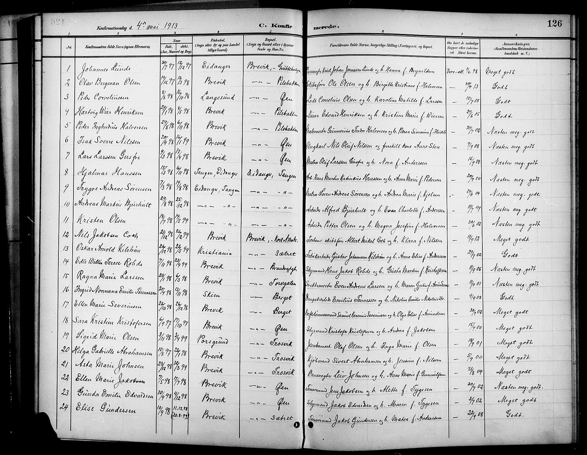 SAKO, Brevik kirkebøker, G/Ga/L0005: Klokkerbok nr. 5, 1901-1924, s. 126