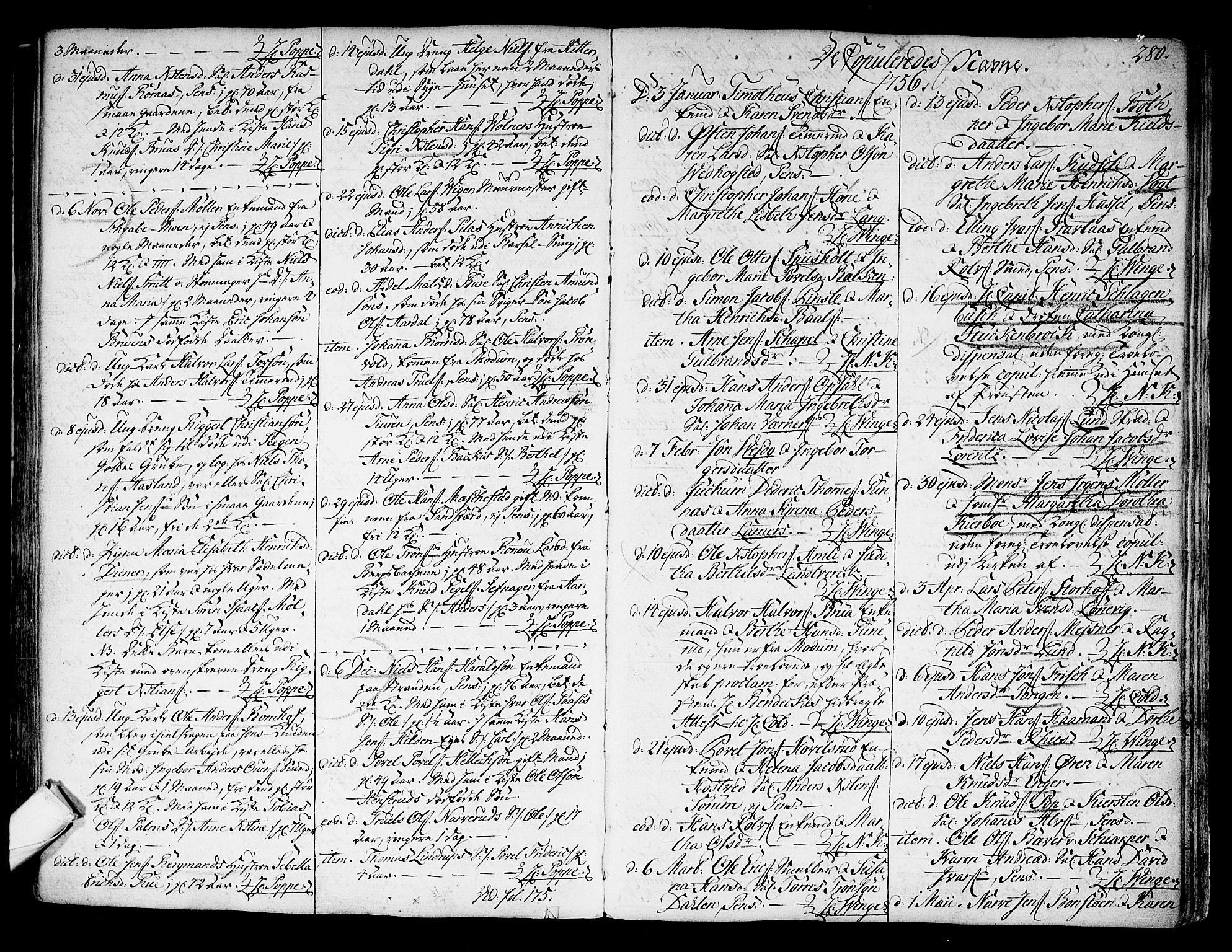 SAKO, Kongsberg kirkebøker, F/Fa/L0004: Ministerialbok nr. I 4, 1756-1768, s. 280