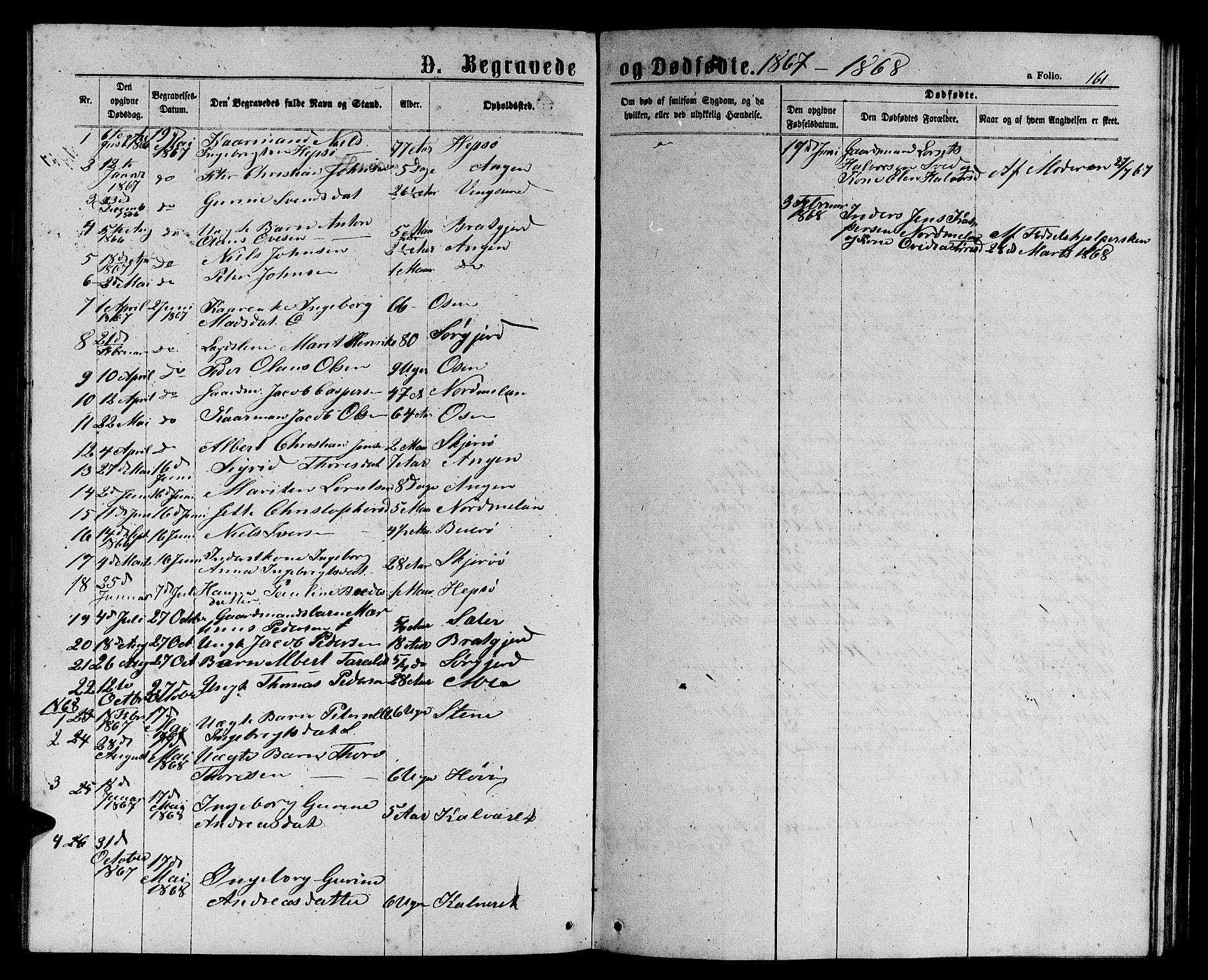 SAT, Ministerialprotokoller, klokkerbøker og fødselsregistre - Sør-Trøndelag, 658/L0725: Klokkerbok nr. 658C01, 1867-1882, s. 161