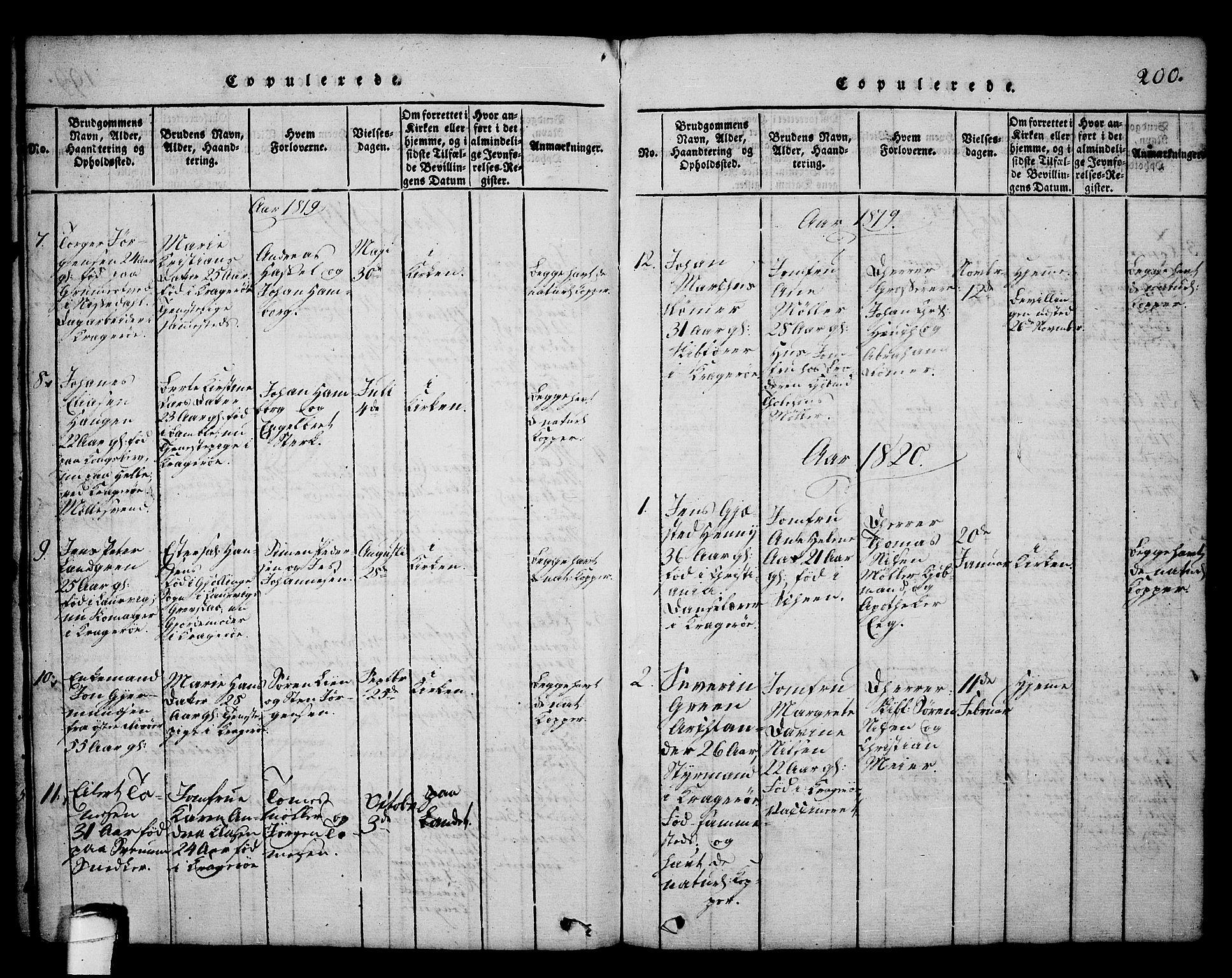 SAKO, Kragerø kirkebøker, G/Ga/L0002: Klokkerbok nr. 2, 1814-1831, s. 200