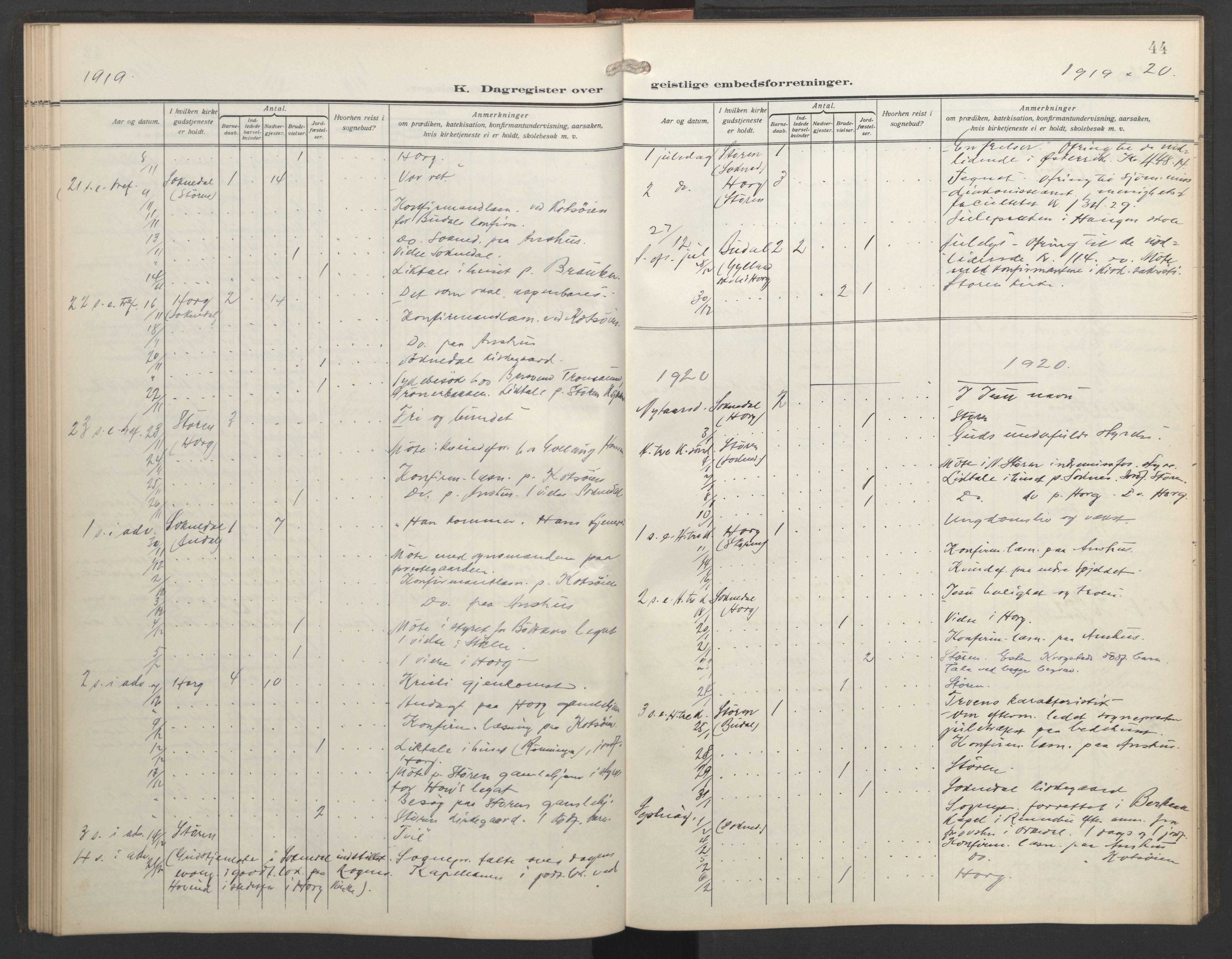SAT, Ministerialprotokoller, klokkerbøker og fødselsregistre - Sør-Trøndelag, 687/L1006: Dagregister nr. 687A12, 1912-1931, s. 44