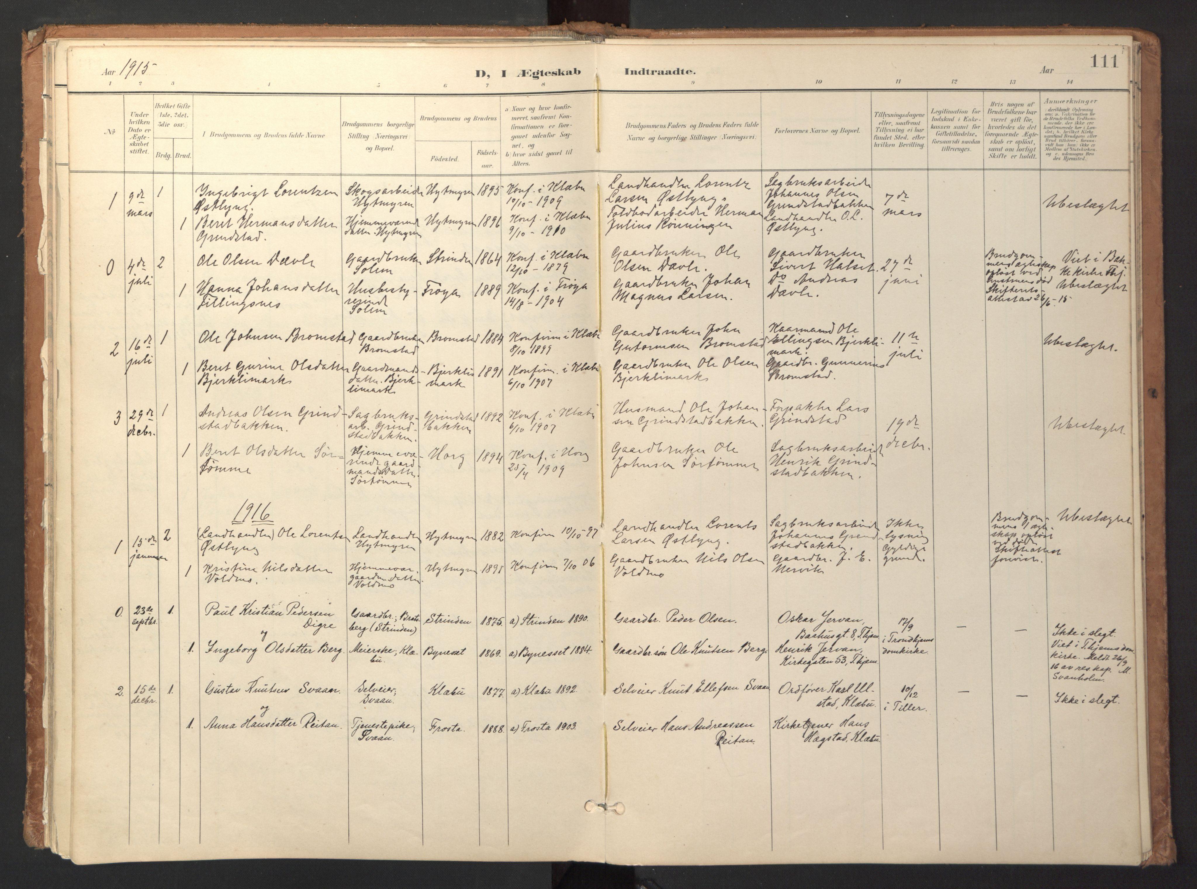 SAT, Ministerialprotokoller, klokkerbøker og fødselsregistre - Sør-Trøndelag, 618/L0448: Ministerialbok nr. 618A11, 1898-1916, s. 111