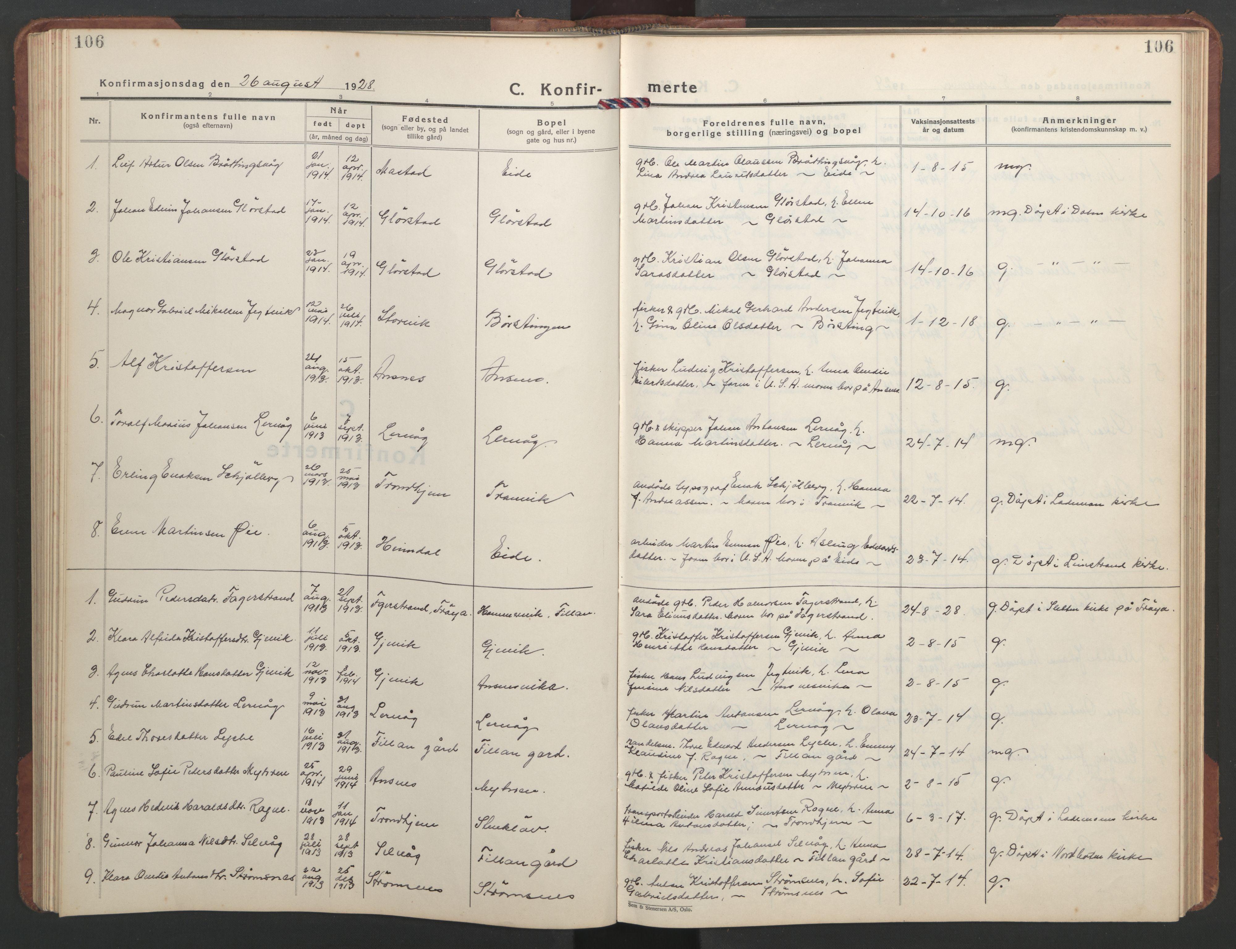 SAT, Ministerialprotokoller, klokkerbøker og fødselsregistre - Sør-Trøndelag, 637/L0564: Klokkerbok nr. 637C05, 1928-1968, s. 106