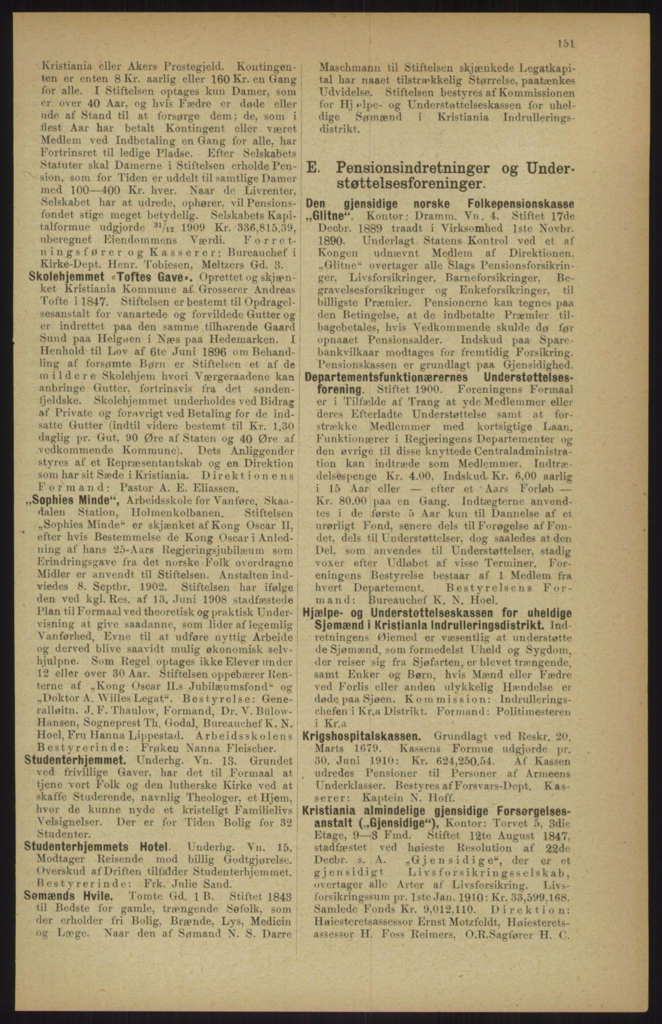 RA, Kristiania adressebok (publikasjon)*, 1911, s. 151