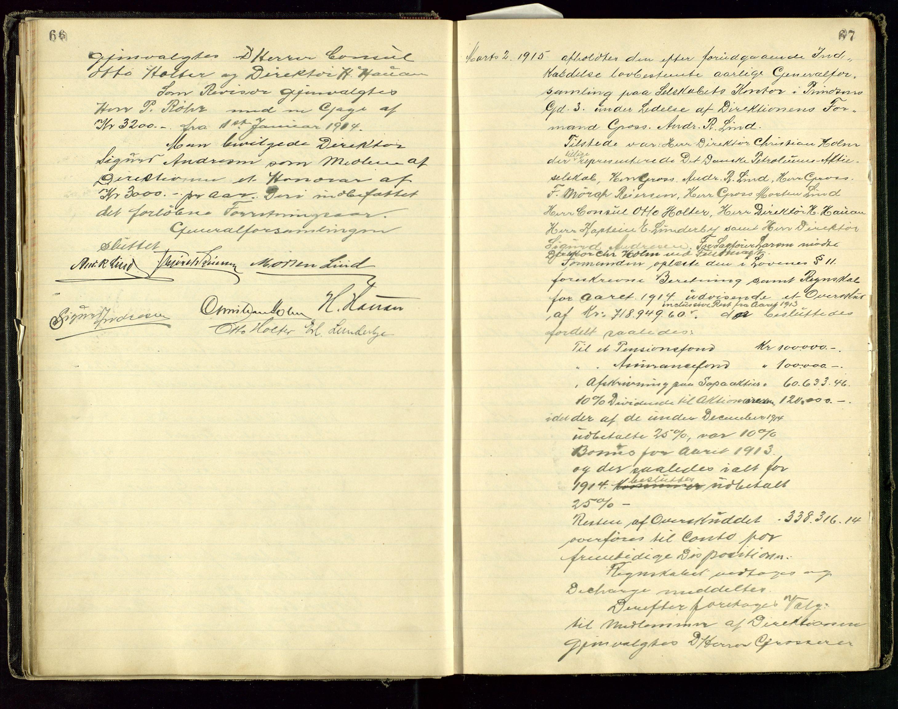 SAST, PA 1534 - Østlandske Petroleumscompagni A/S, A/Aa/L0001: Generalforsamlinger og direksjonsprotokoller., 1892-1960, s. 66-67