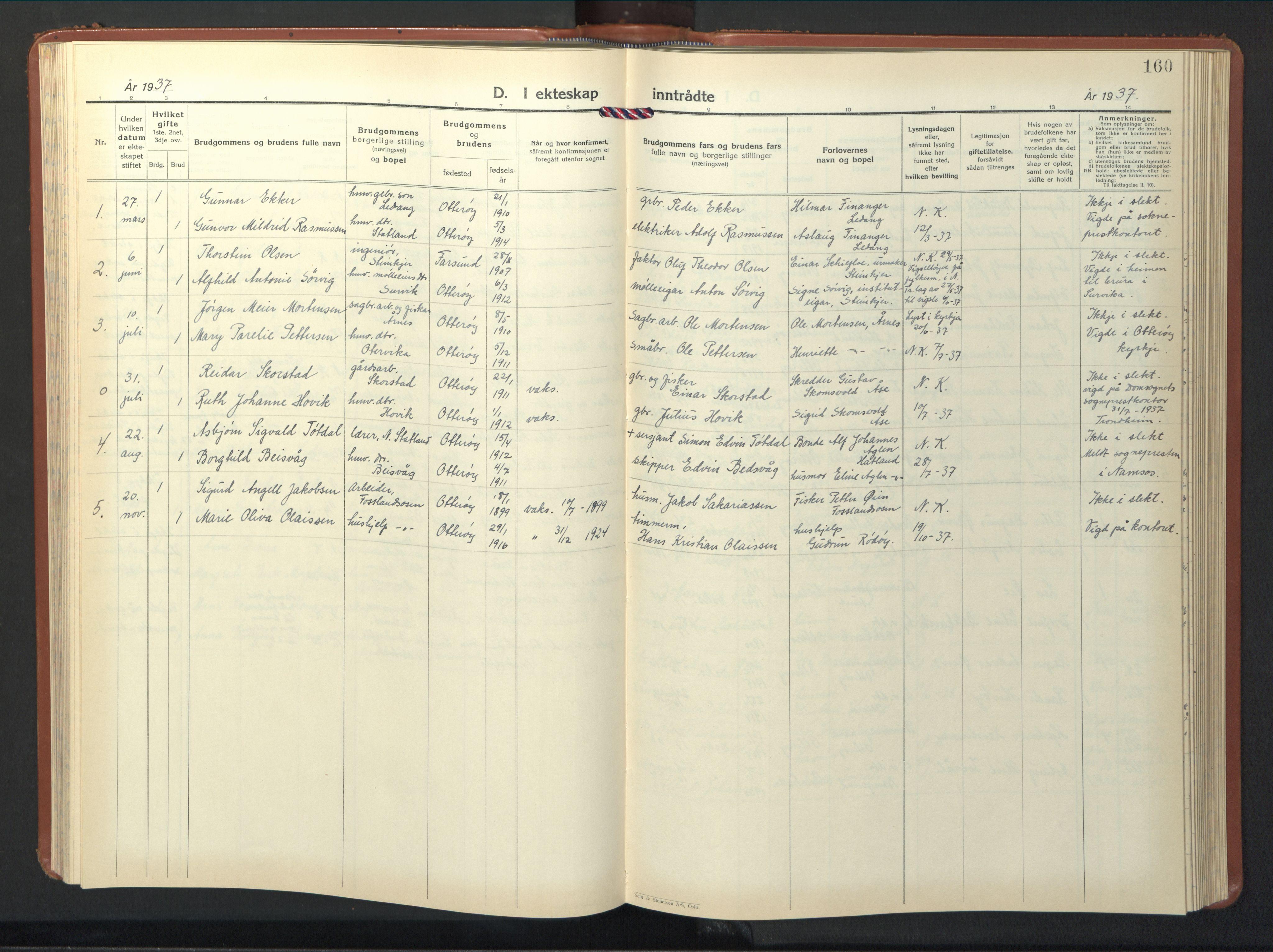 SAT, Ministerialprotokoller, klokkerbøker og fødselsregistre - Nord-Trøndelag, 774/L0631: Klokkerbok nr. 774C02, 1934-1950, s. 160