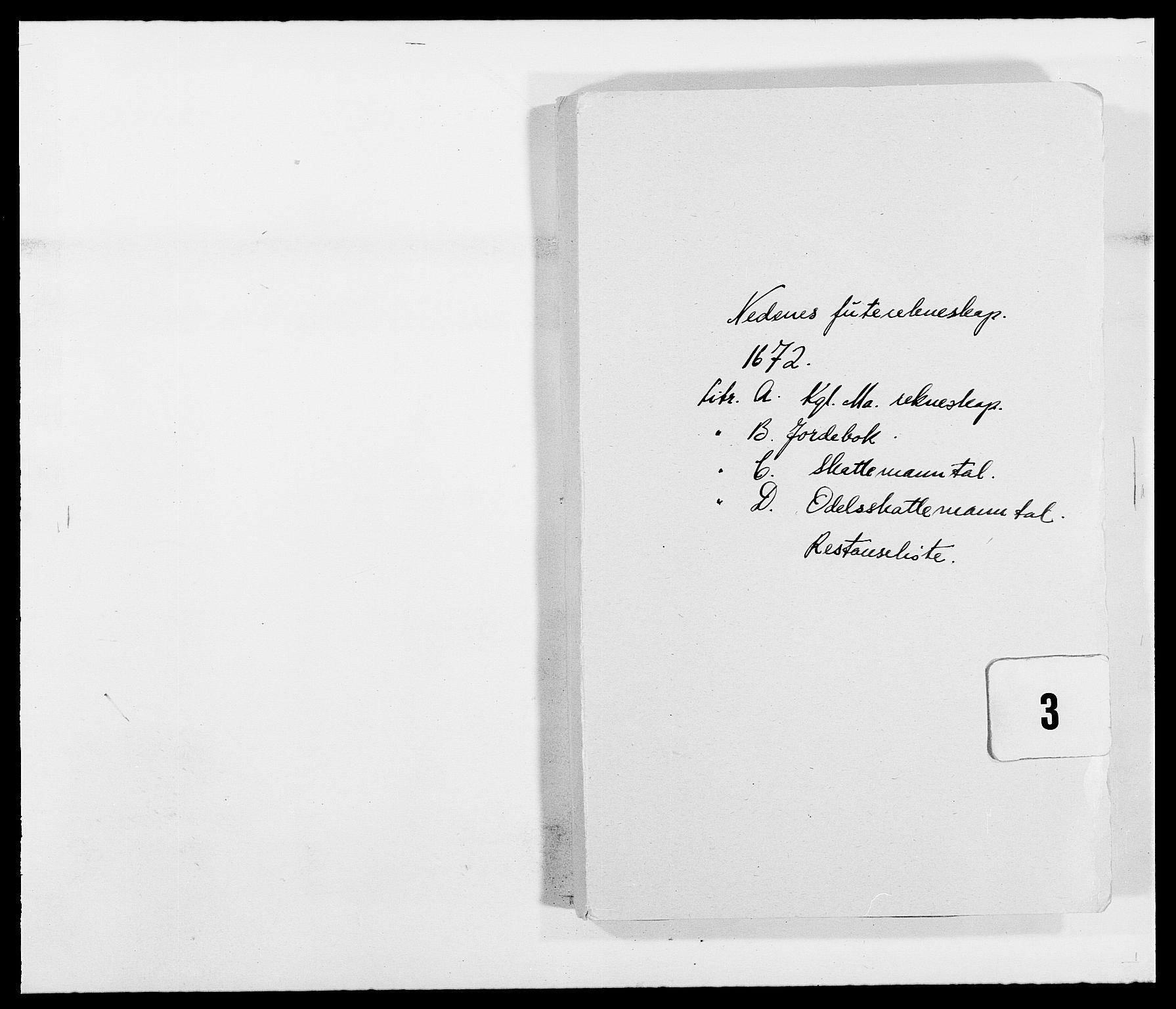 RA, Rentekammeret inntil 1814, Reviderte regnskaper, Fogderegnskap, R39/L2300: Fogderegnskap Nedenes, 1672-1674, s. 1