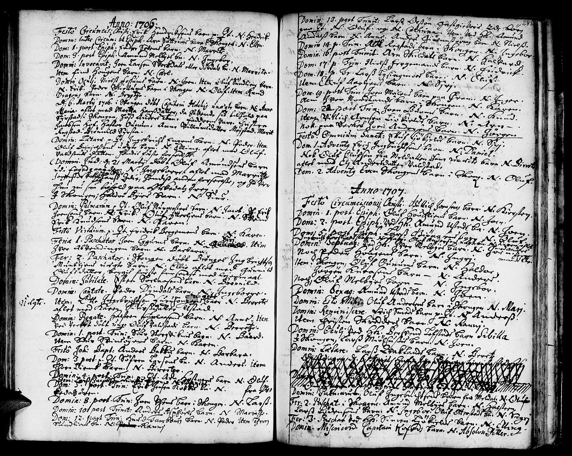 SAT, Ministerialprotokoller, klokkerbøker og fødselsregistre - Sør-Trøndelag, 668/L0801: Ministerialbok nr. 668A01, 1695-1716, s. 284-285