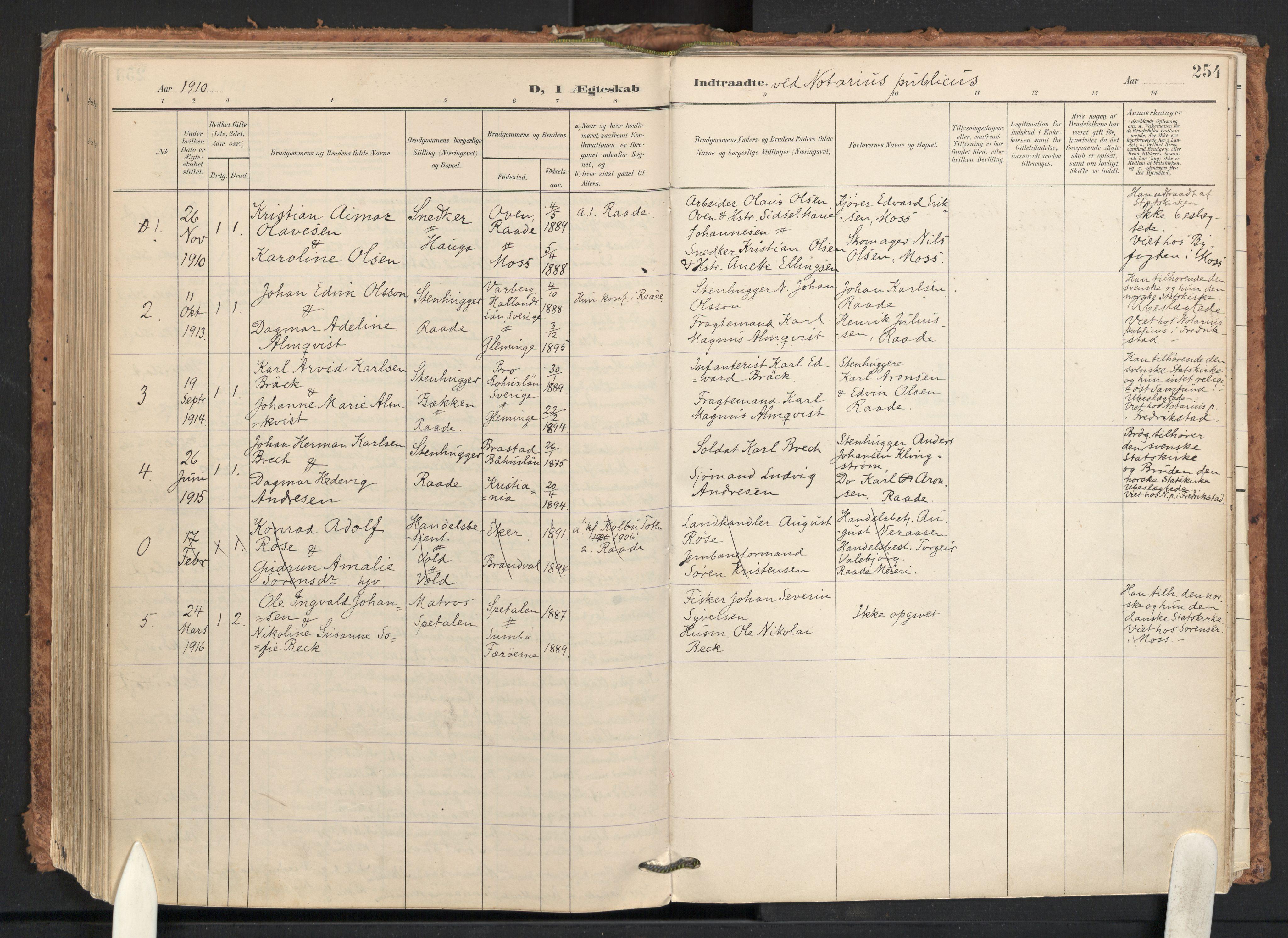 SAO, Råde prestekontor kirkebøker, F/Fa/L0008: Ministerialbok nr. 8, 1903-1924, s. 254