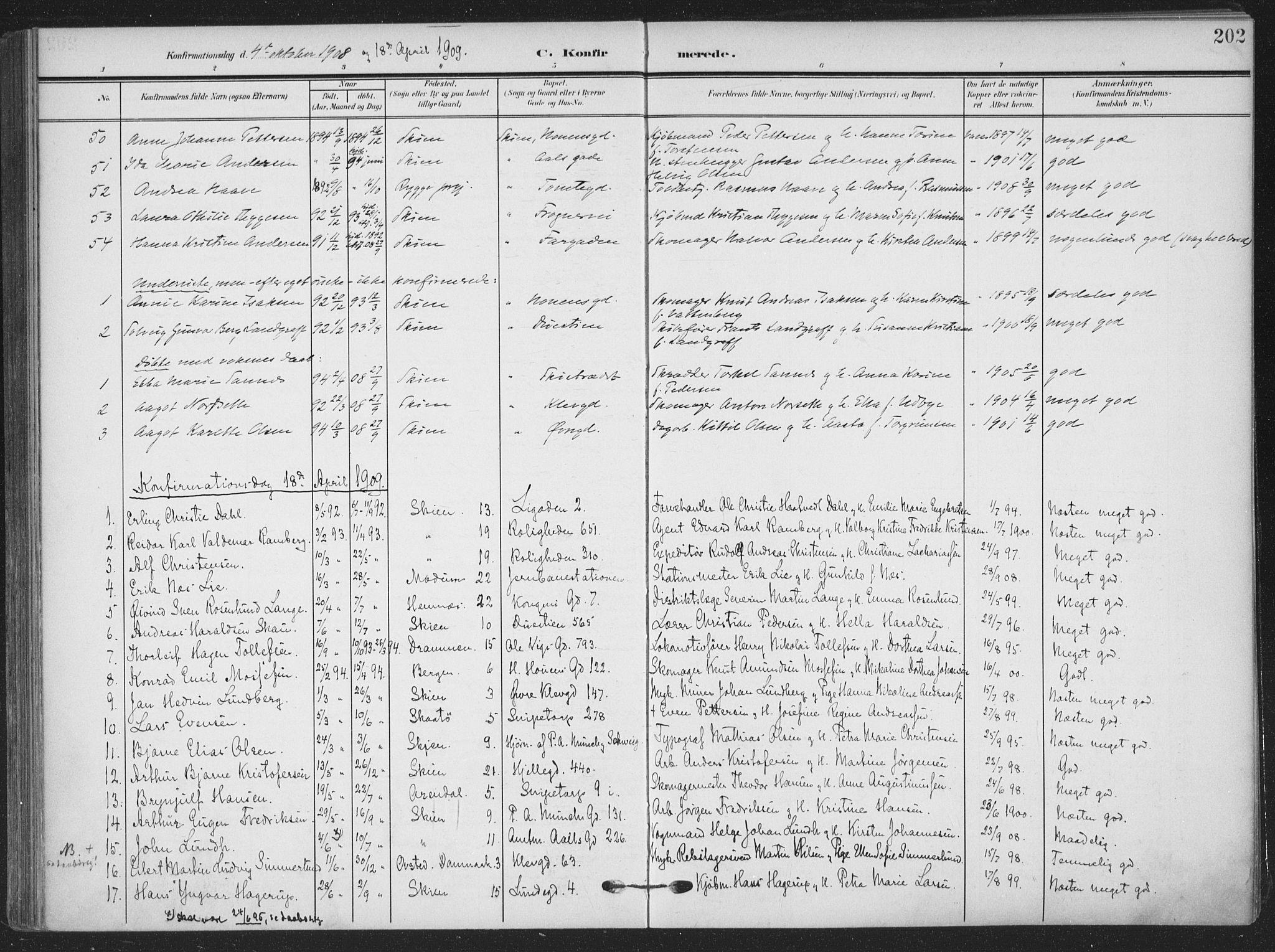 SAKO, Skien kirkebøker, F/Fa/L0012: Ministerialbok nr. 12, 1908-1914, s. 202