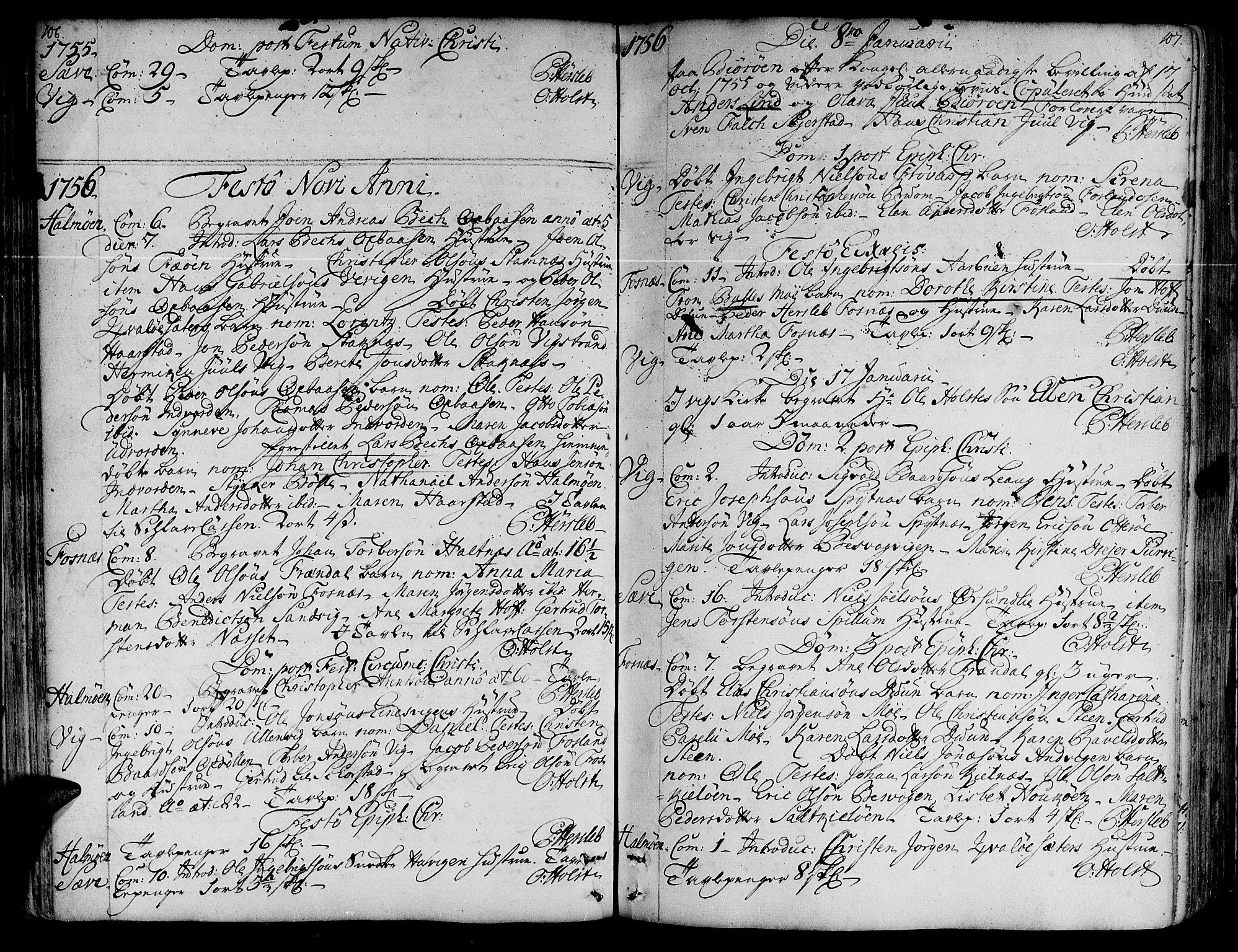 SAT, Ministerialprotokoller, klokkerbøker og fødselsregistre - Nord-Trøndelag, 773/L0607: Ministerialbok nr. 773A01, 1751-1783, s. 106-107