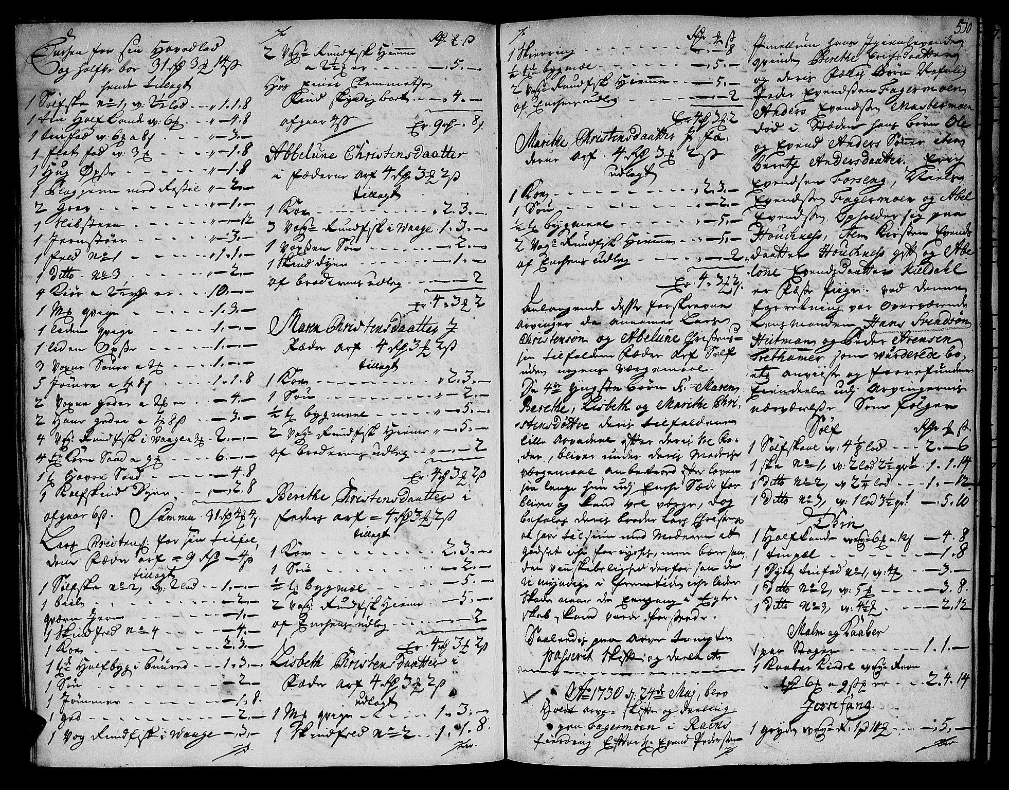 SAT, Helgeland sorenskriveri, 3/3A/L0008: Skifteprotokoll 6B, 1728-1731, s. 509b-510a