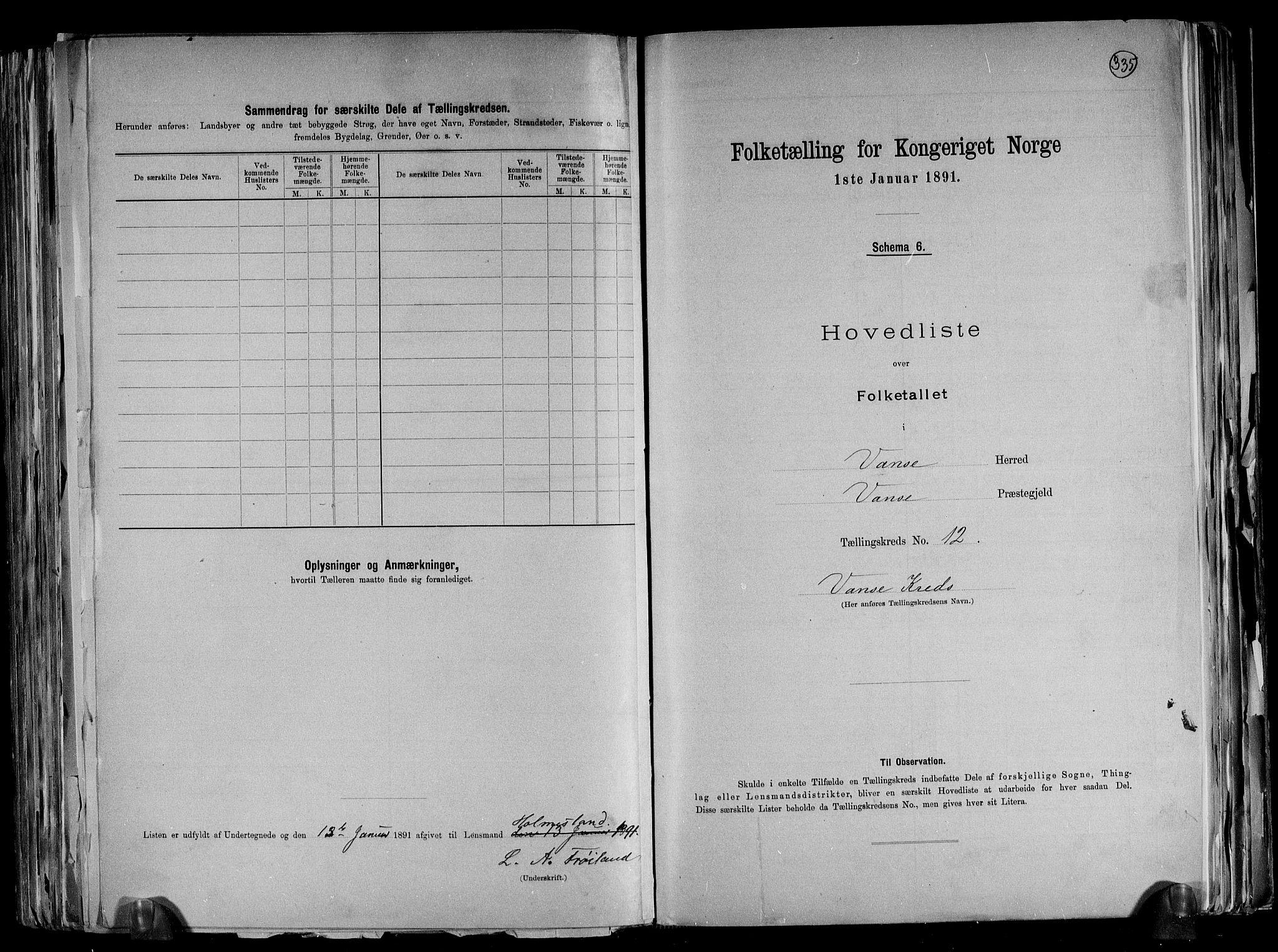 RA, Folketelling 1891 for 1041 Vanse herred, 1891, s. 42