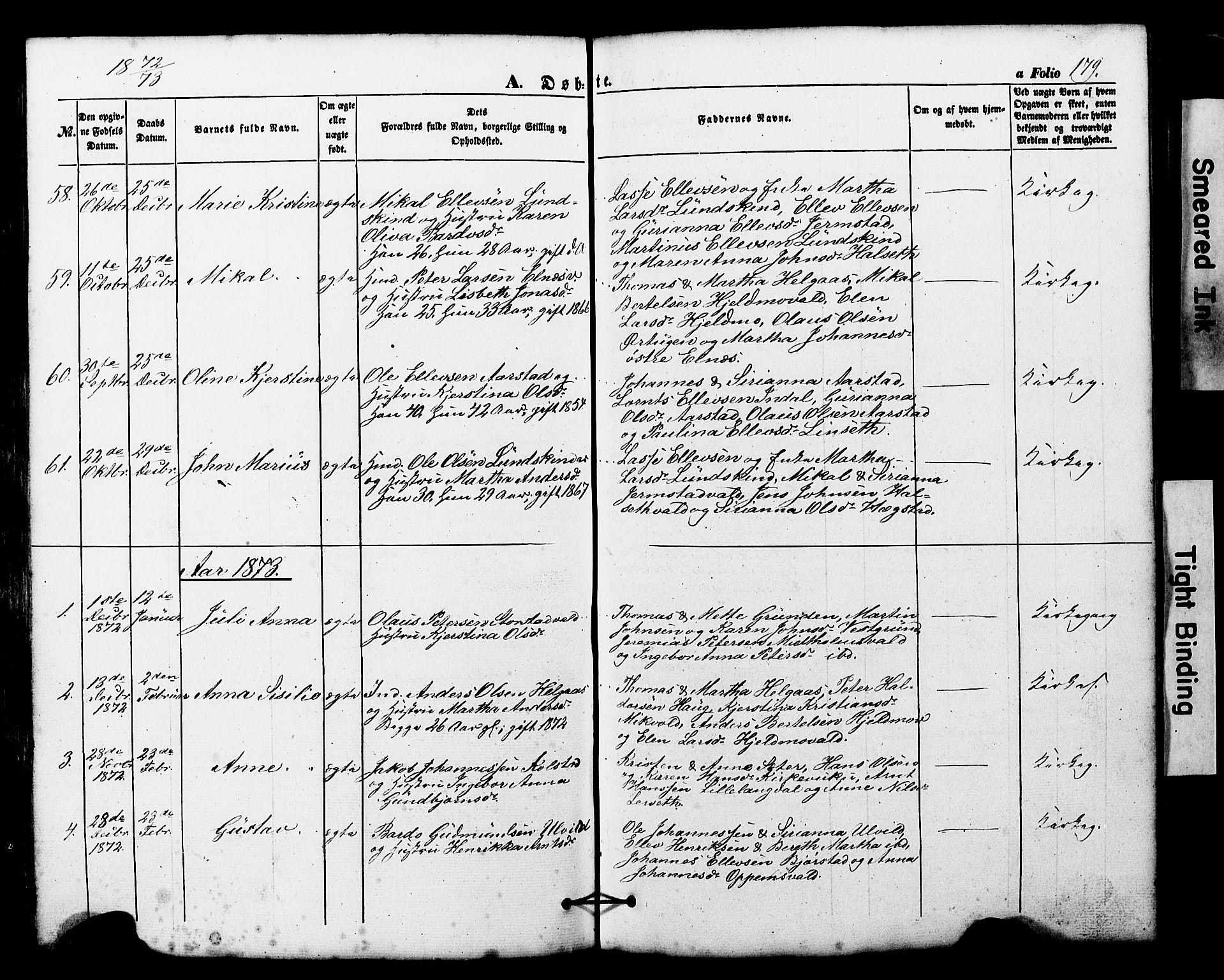 SAT, Ministerialprotokoller, klokkerbøker og fødselsregistre - Nord-Trøndelag, 724/L0268: Klokkerbok nr. 724C04, 1846-1878, s. 179