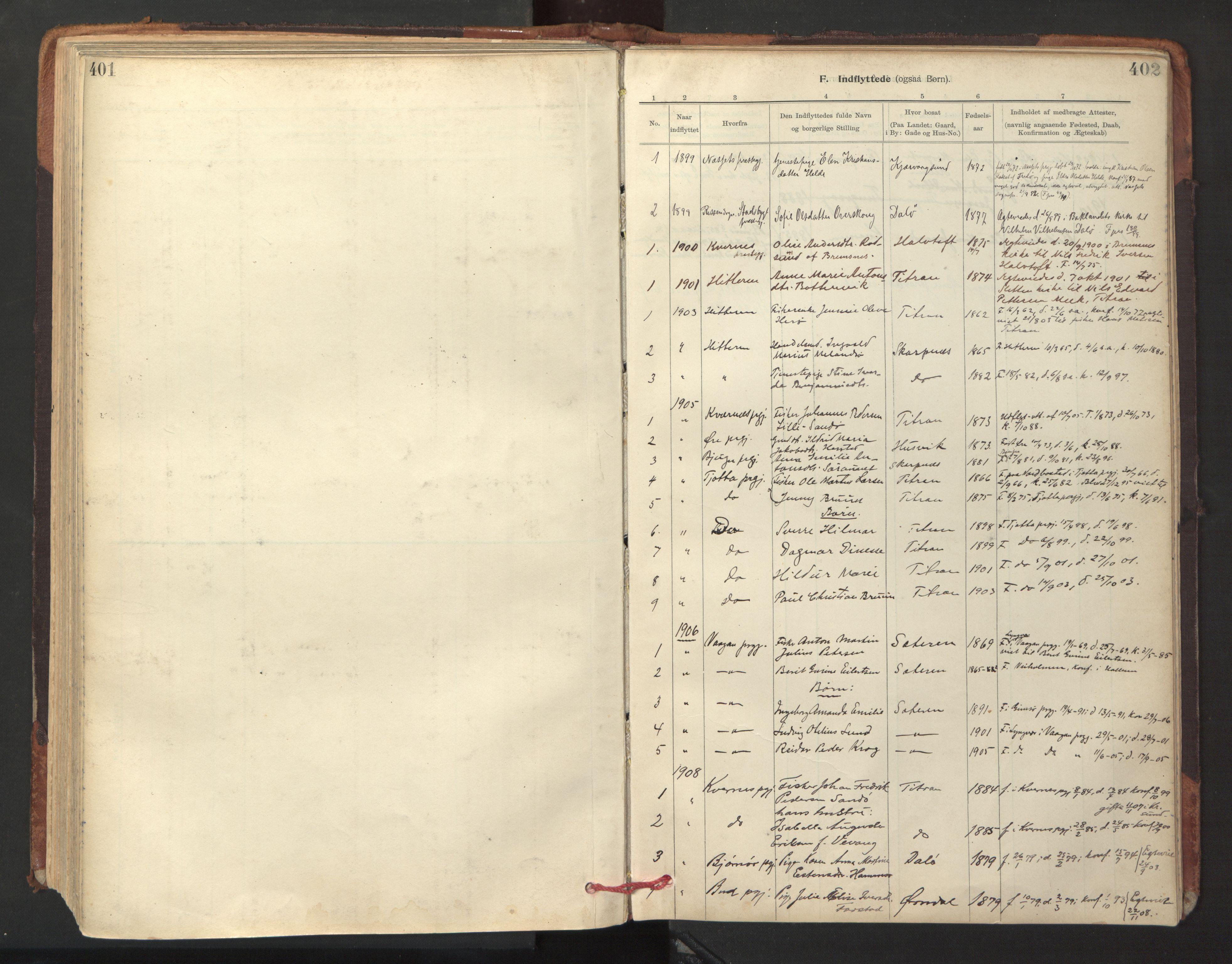 SAT, Ministerialprotokoller, klokkerbøker og fødselsregistre - Sør-Trøndelag, 641/L0596: Ministerialbok nr. 641A02, 1898-1915, s. 401-402