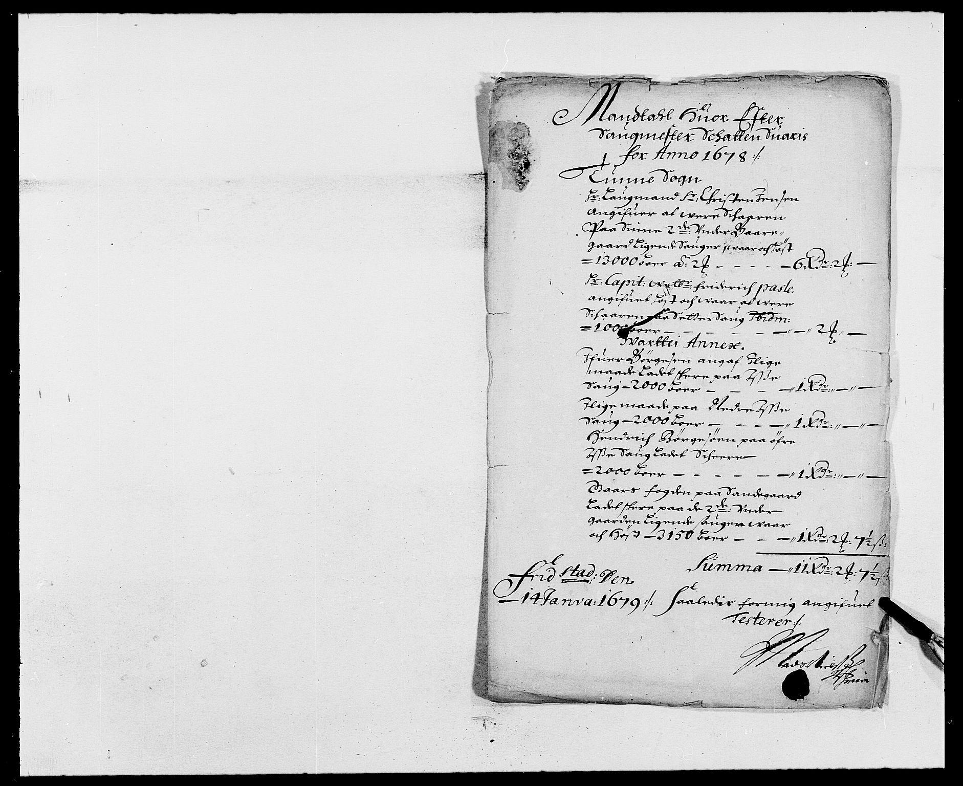 RA, Rentekammeret inntil 1814, Reviderte regnskaper, Fogderegnskap, R03/L0109: Fogderegnskap Onsøy, Tune, Veme og Åbygge fogderi, 1678, s. 253