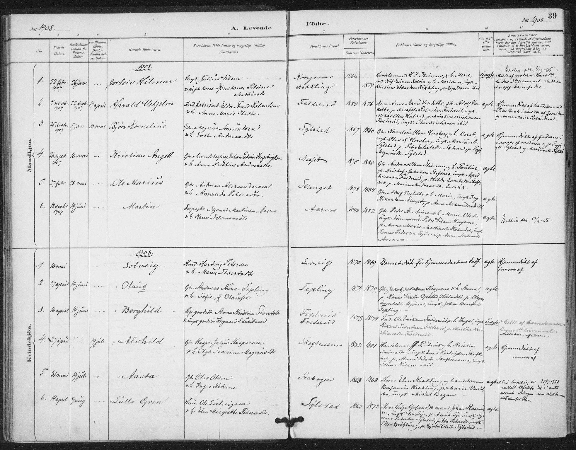 SAT, Ministerialprotokoller, klokkerbøker og fødselsregistre - Nord-Trøndelag, 783/L0660: Ministerialbok nr. 783A02, 1886-1918, s. 39