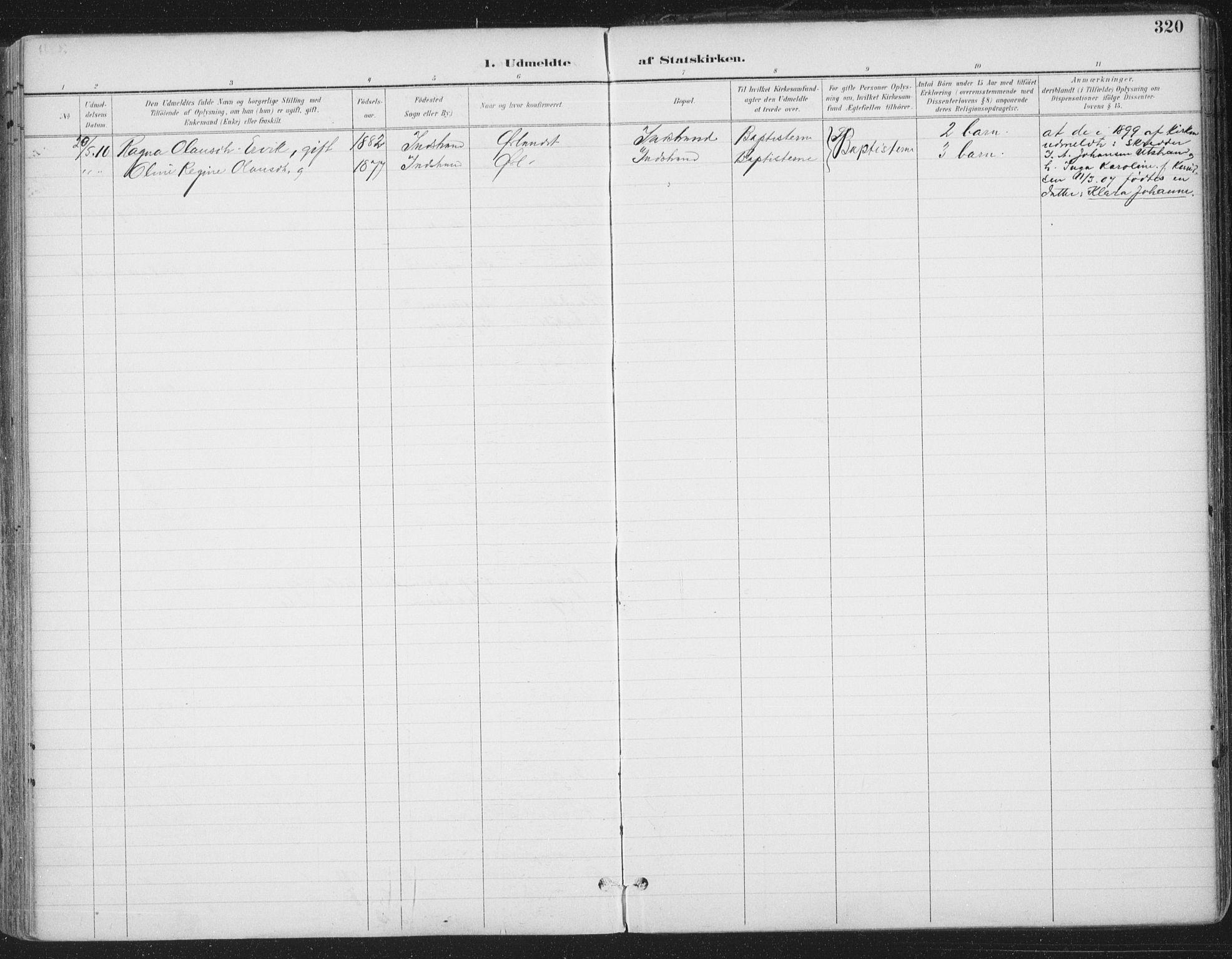 SAT, Ministerialprotokoller, klokkerbøker og fødselsregistre - Sør-Trøndelag, 659/L0743: Ministerialbok nr. 659A13, 1893-1910, s. 320