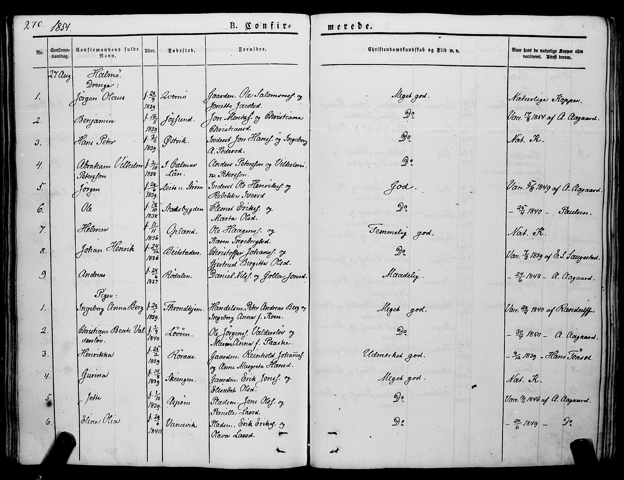 SAT, Ministerialprotokoller, klokkerbøker og fødselsregistre - Nord-Trøndelag, 773/L0614: Ministerialbok nr. 773A05, 1831-1856, s. 270
