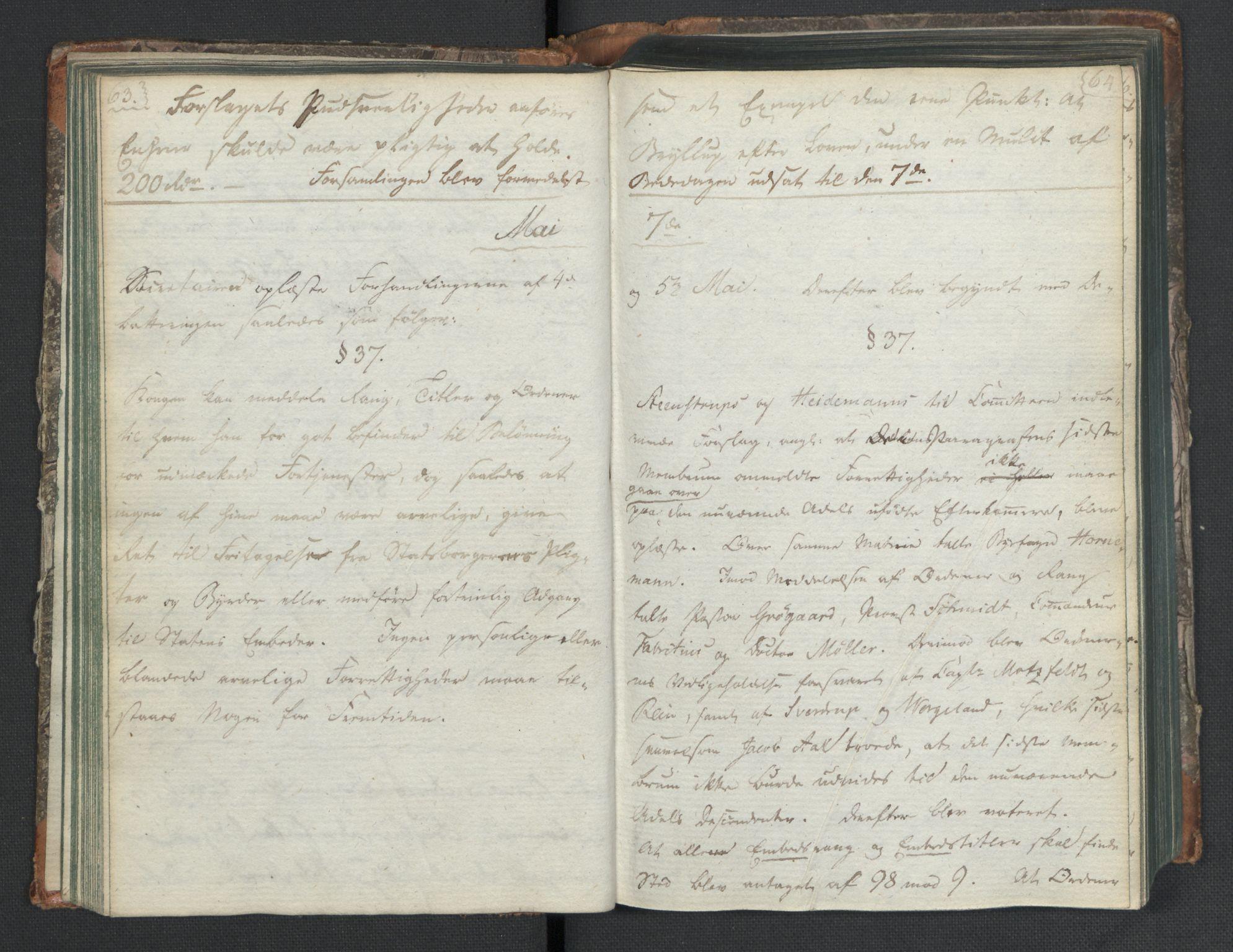 RA, Manuskriptsamlingen, H/L0021: Byfogd Gregers Winther Wulfbergs dagbok under Riksforsamlingen på Eidsvoll, 1814, s. 63-64