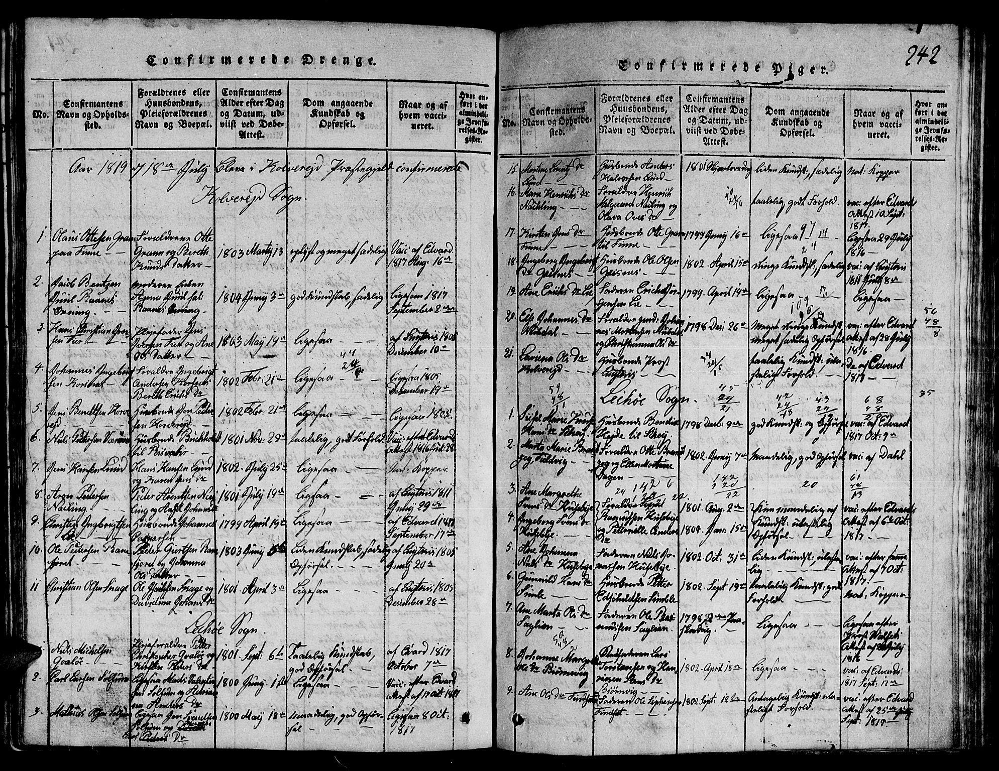 SAT, Ministerialprotokoller, klokkerbøker og fødselsregistre - Nord-Trøndelag, 780/L0648: Klokkerbok nr. 780C01 /1, 1815-1870, s. 242