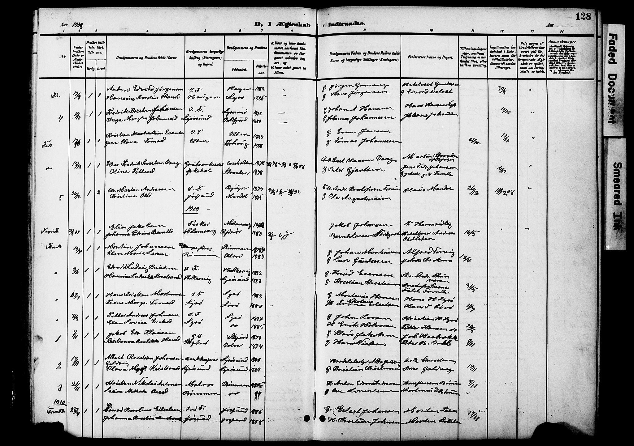 SAT, Ministerialprotokoller, klokkerbøker og fødselsregistre - Sør-Trøndelag, 654/L0666: Klokkerbok nr. 654C02, 1901-1925, s. 128