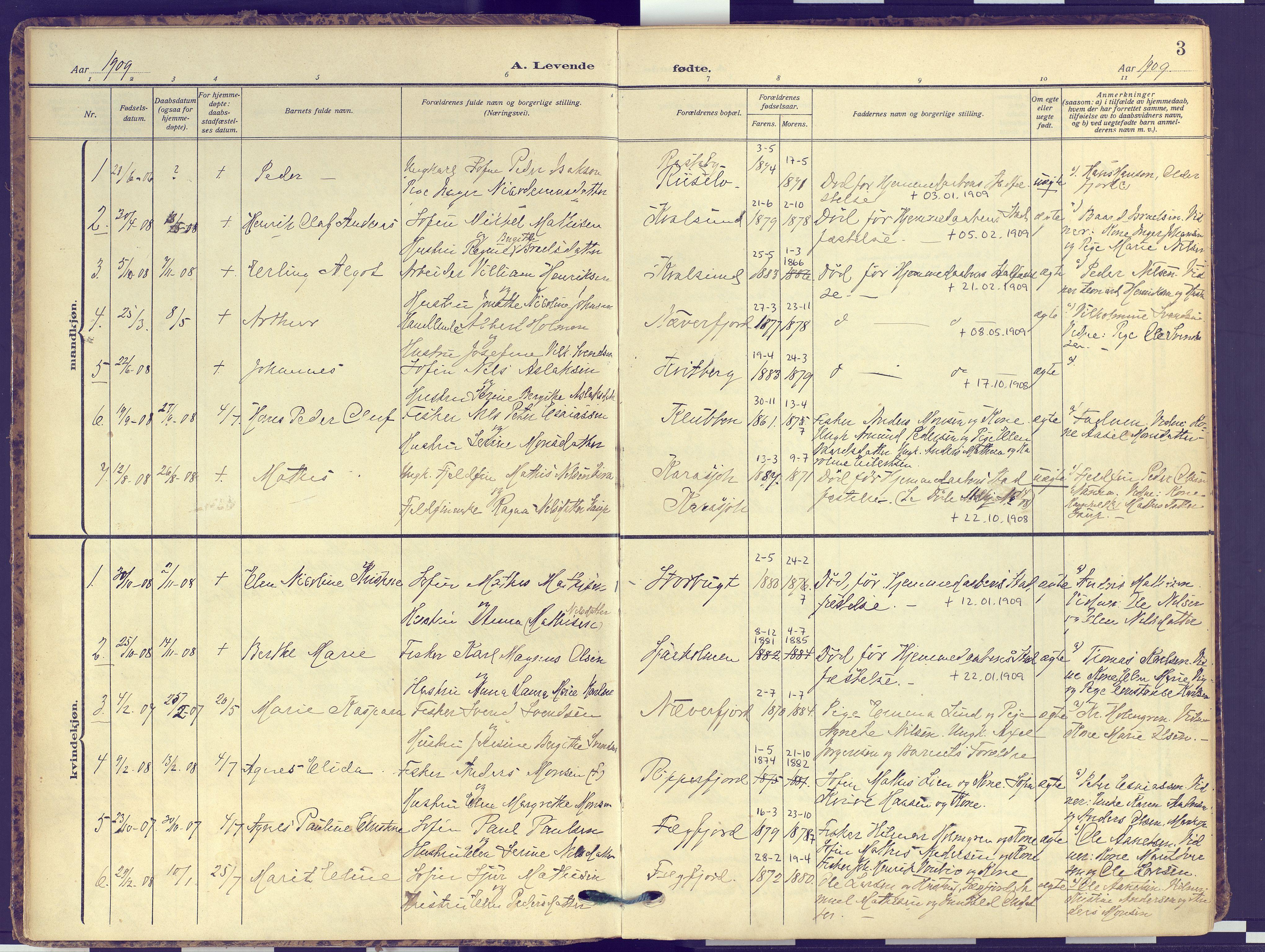 SATØ, Hammerfest sokneprestembete, Ministerialbok nr. 16, 1908-1923, s. 3