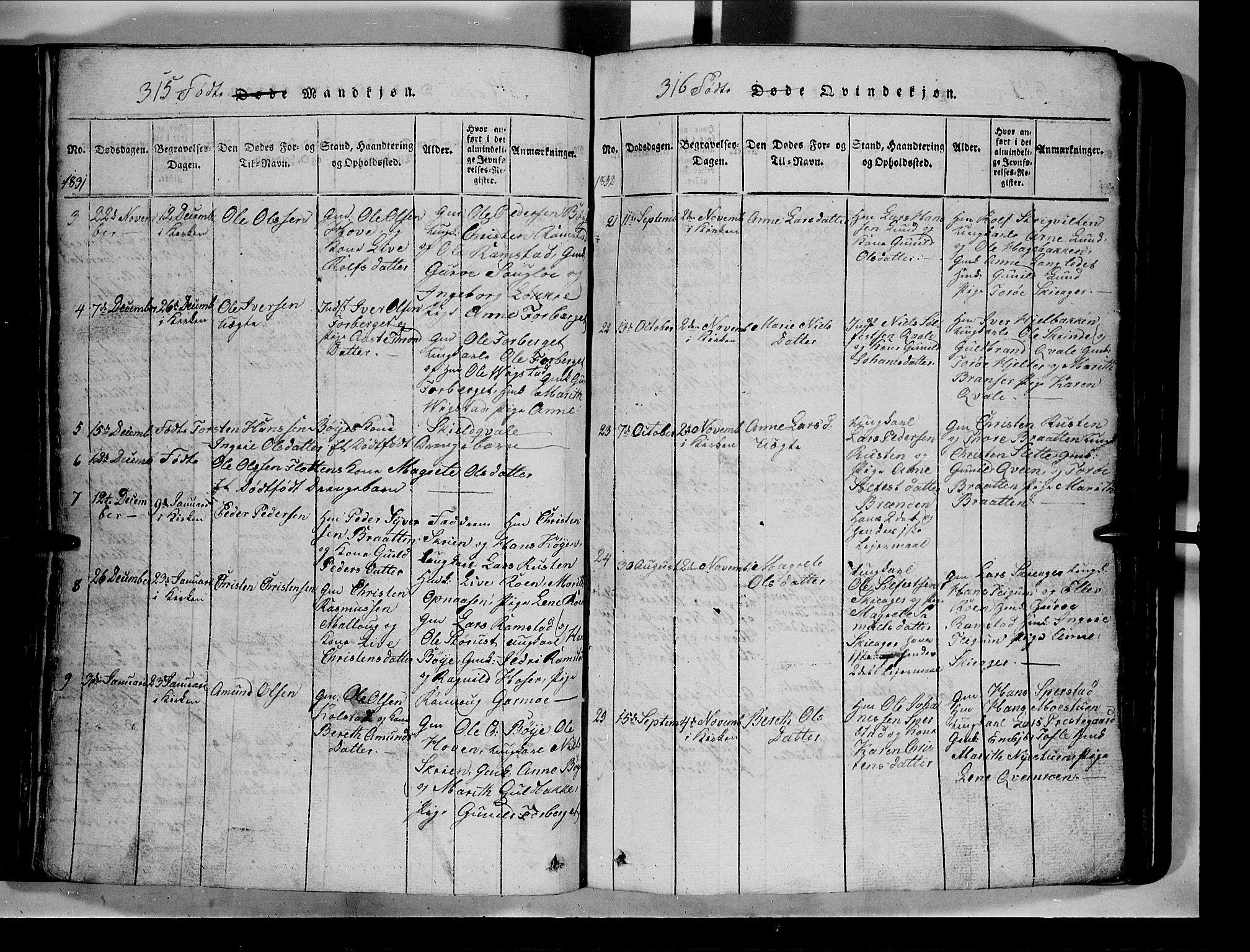 SAH, Lom prestekontor, L/L0003: Klokkerbok nr. 3, 1815-1844, s. 315-316