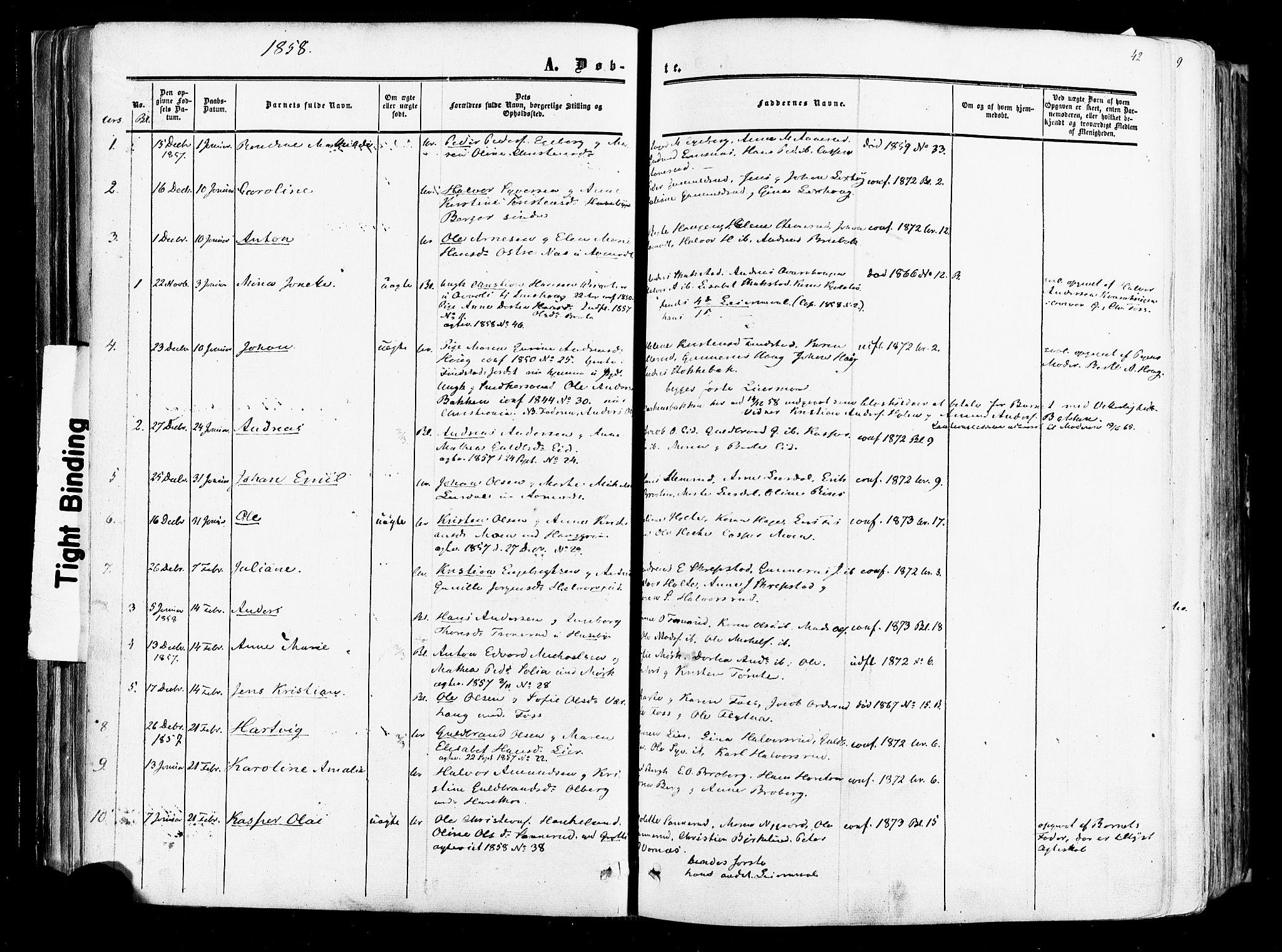 SAO, Aurskog prestekontor Kirkebøker, F/Fa/L0007: Ministerialbok nr. I 7, 1854-1877, s. 42