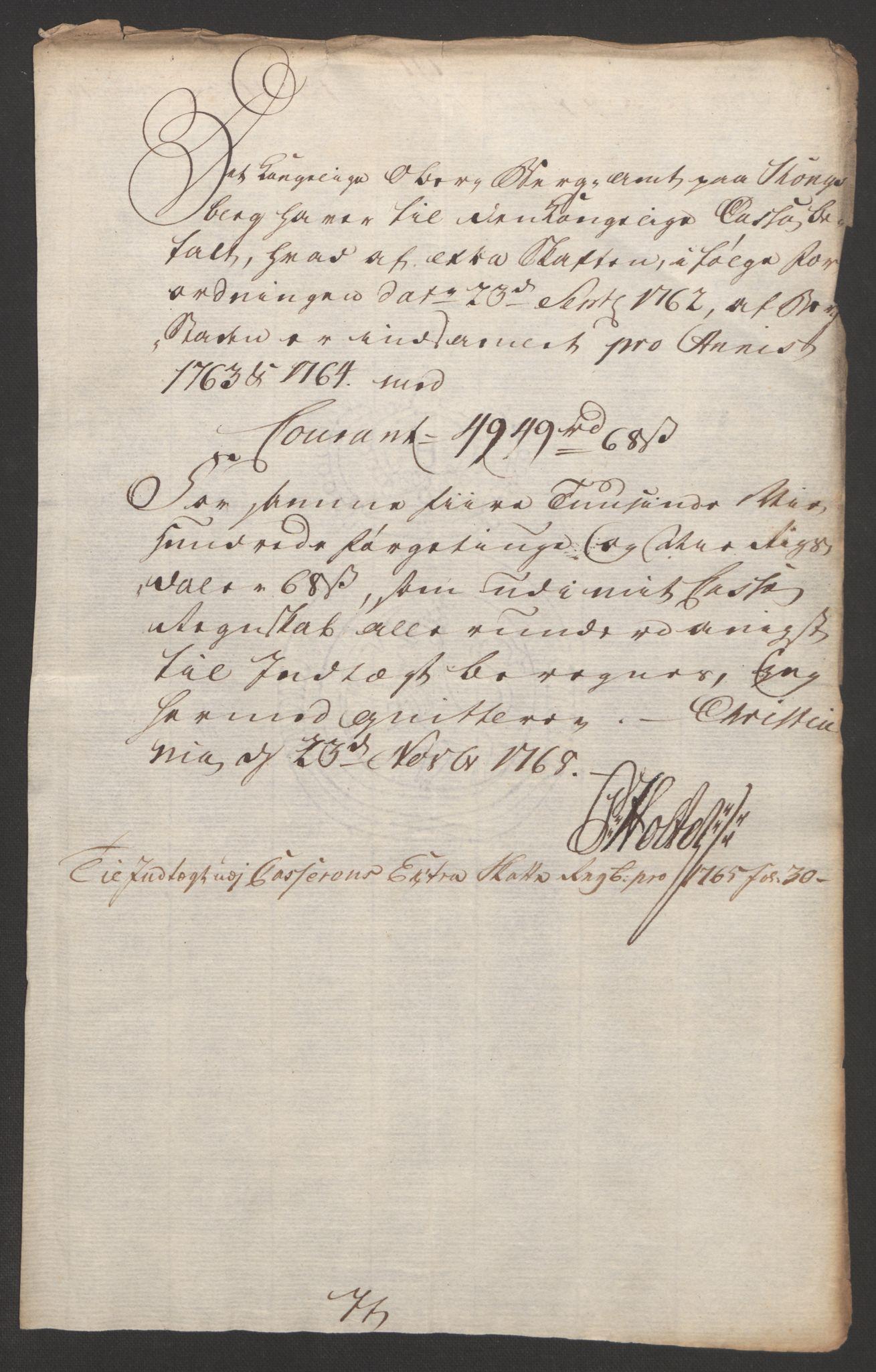 RA, Rentekammeret inntil 1814, Reviderte regnskaper, Bergverksregnskaper, R/Rc/Rca/L0843: Ekstraskatt, 1762-1765, s. 858