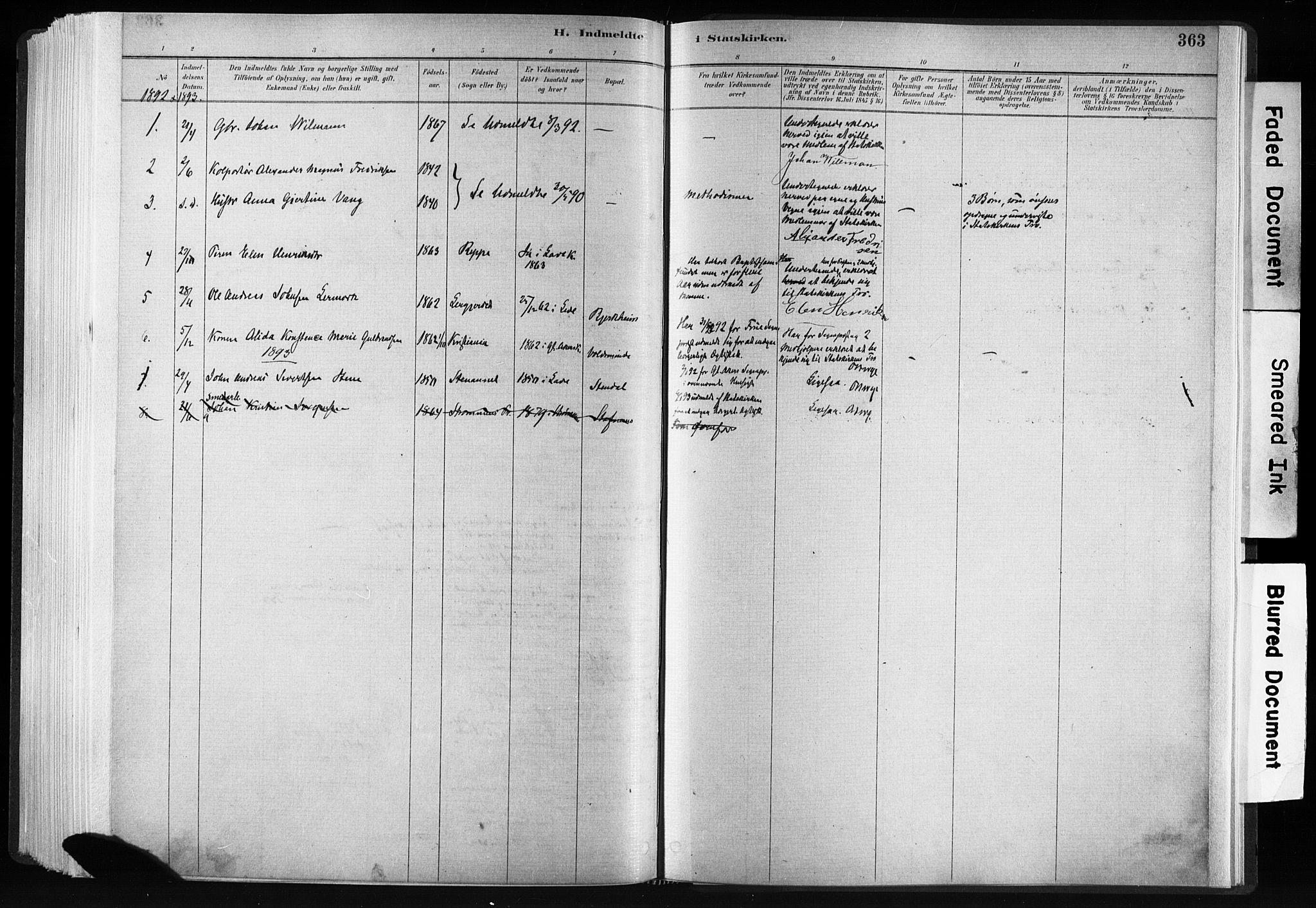 SAT, Ministerialprotokoller, klokkerbøker og fødselsregistre - Sør-Trøndelag, 606/L0300: Ministerialbok nr. 606A15, 1886-1893, s. 363