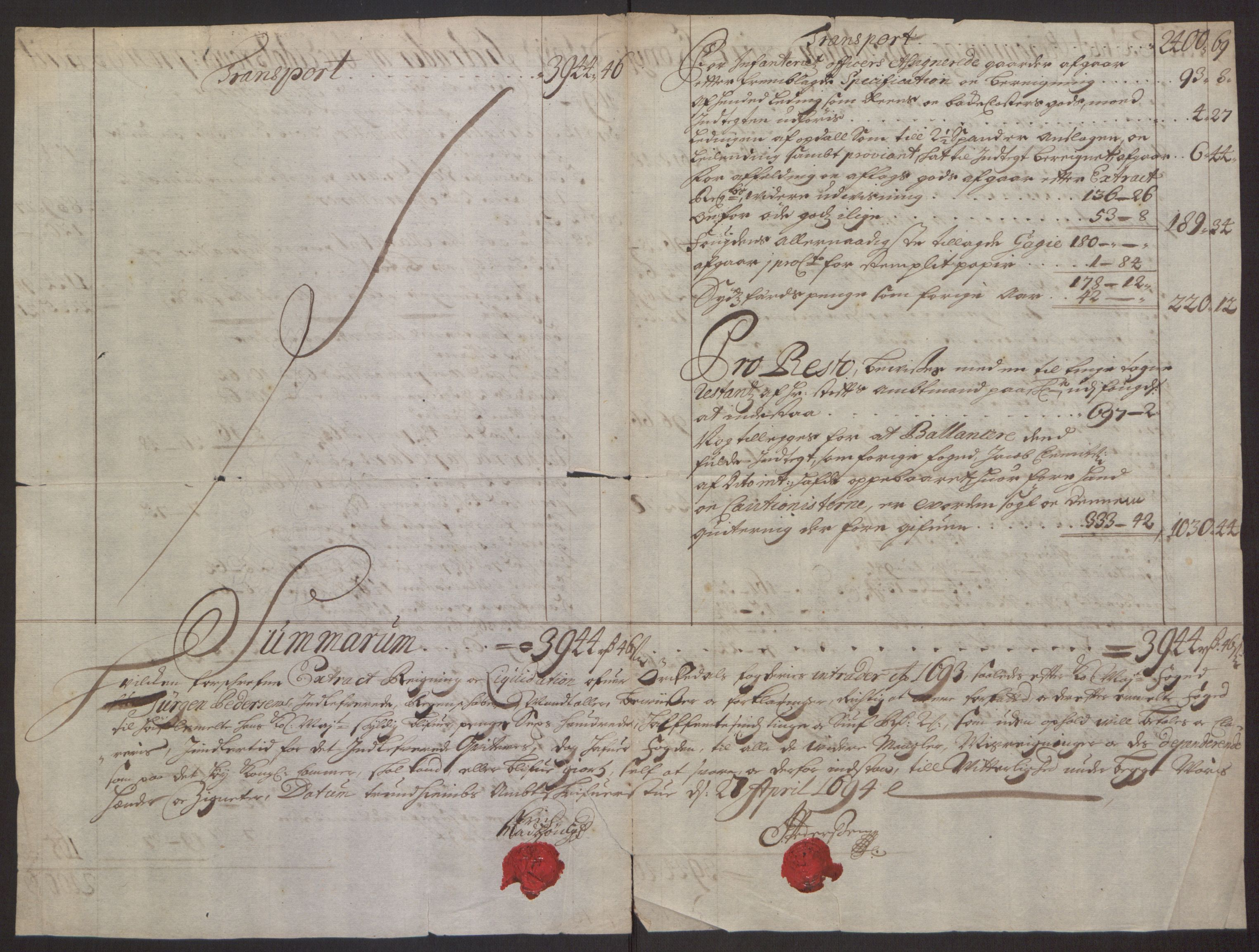 RA, Rentekammeret inntil 1814, Reviderte regnskaper, Fogderegnskap, R60/L3944: Fogderegnskap Orkdal og Gauldal, 1694, s. 4