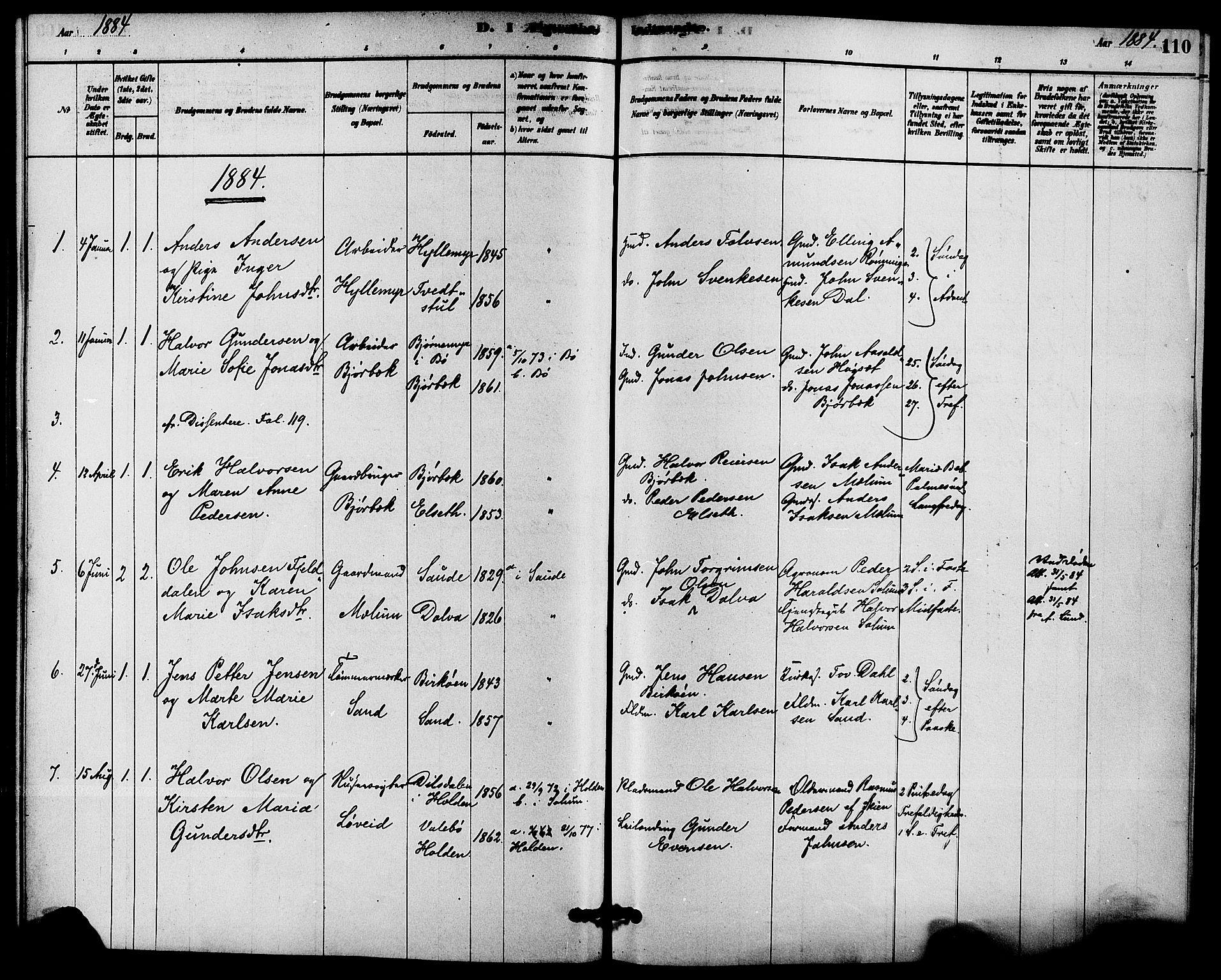 SAKO, Solum kirkebøker, F/Fb/L0001: Ministerialbok nr. II 1, 1877-1892, s. 110