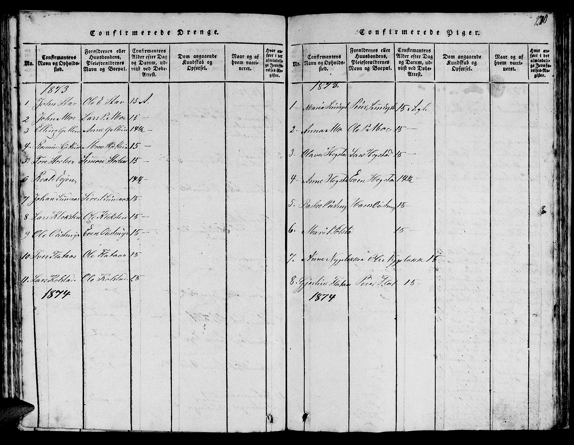 SAT, Ministerialprotokoller, klokkerbøker og fødselsregistre - Sør-Trøndelag, 613/L0393: Klokkerbok nr. 613C01, 1816-1886, s. 270