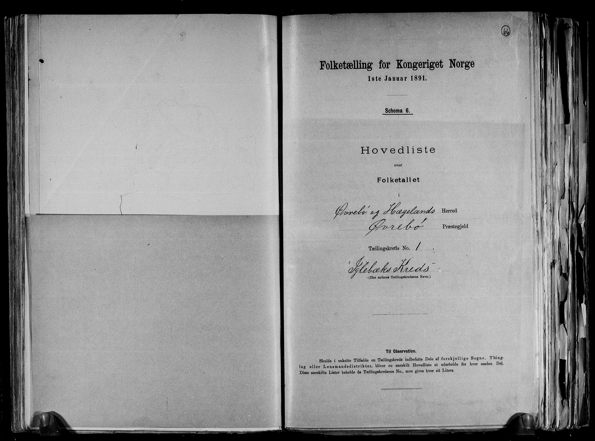 RA, Folketelling 1891 for 1016 Øvrebø og Hægeland herred, 1891, s. 6