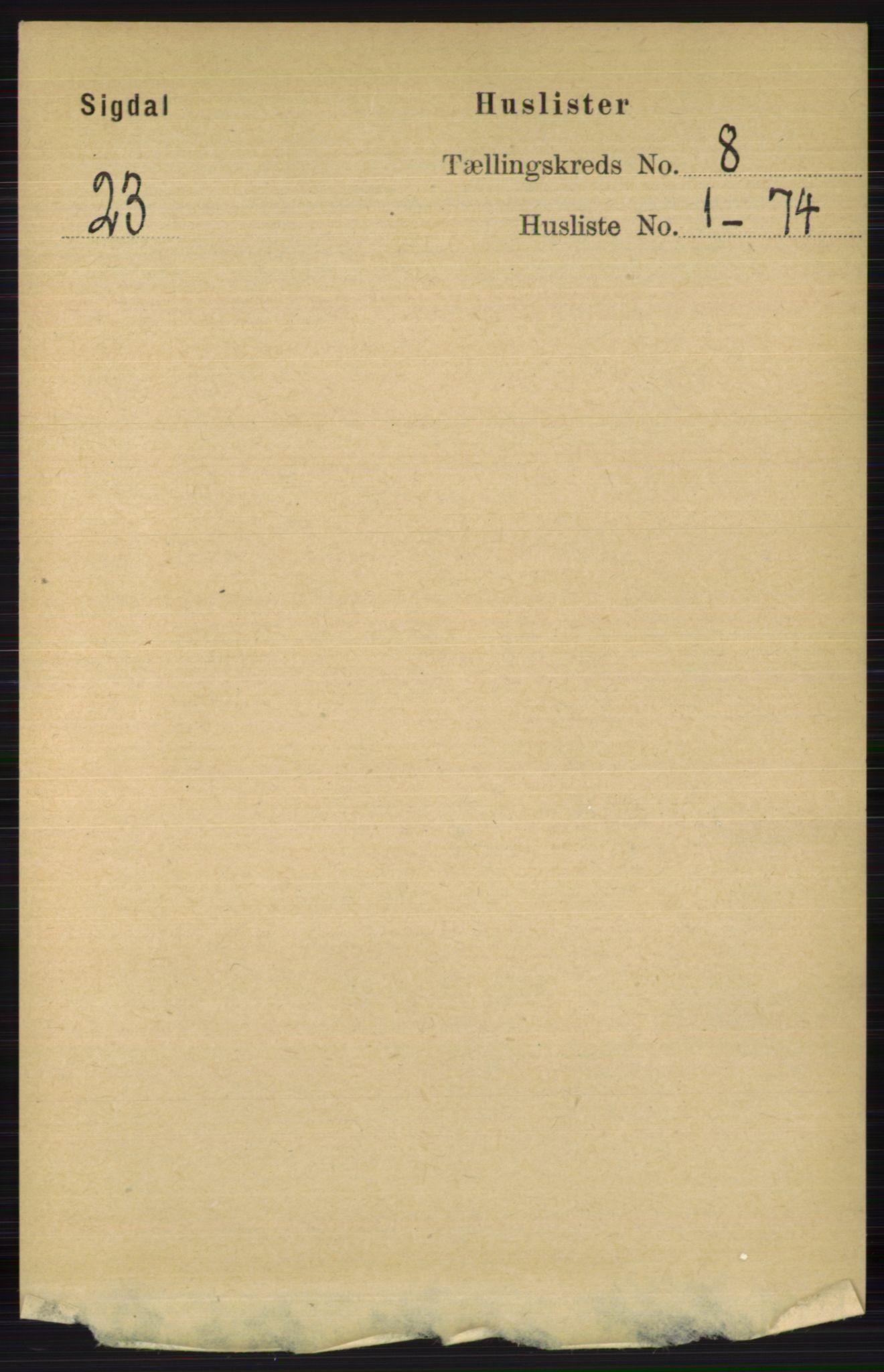 RA, Folketelling 1891 for 0621 Sigdal herred, 1891, s. 3100