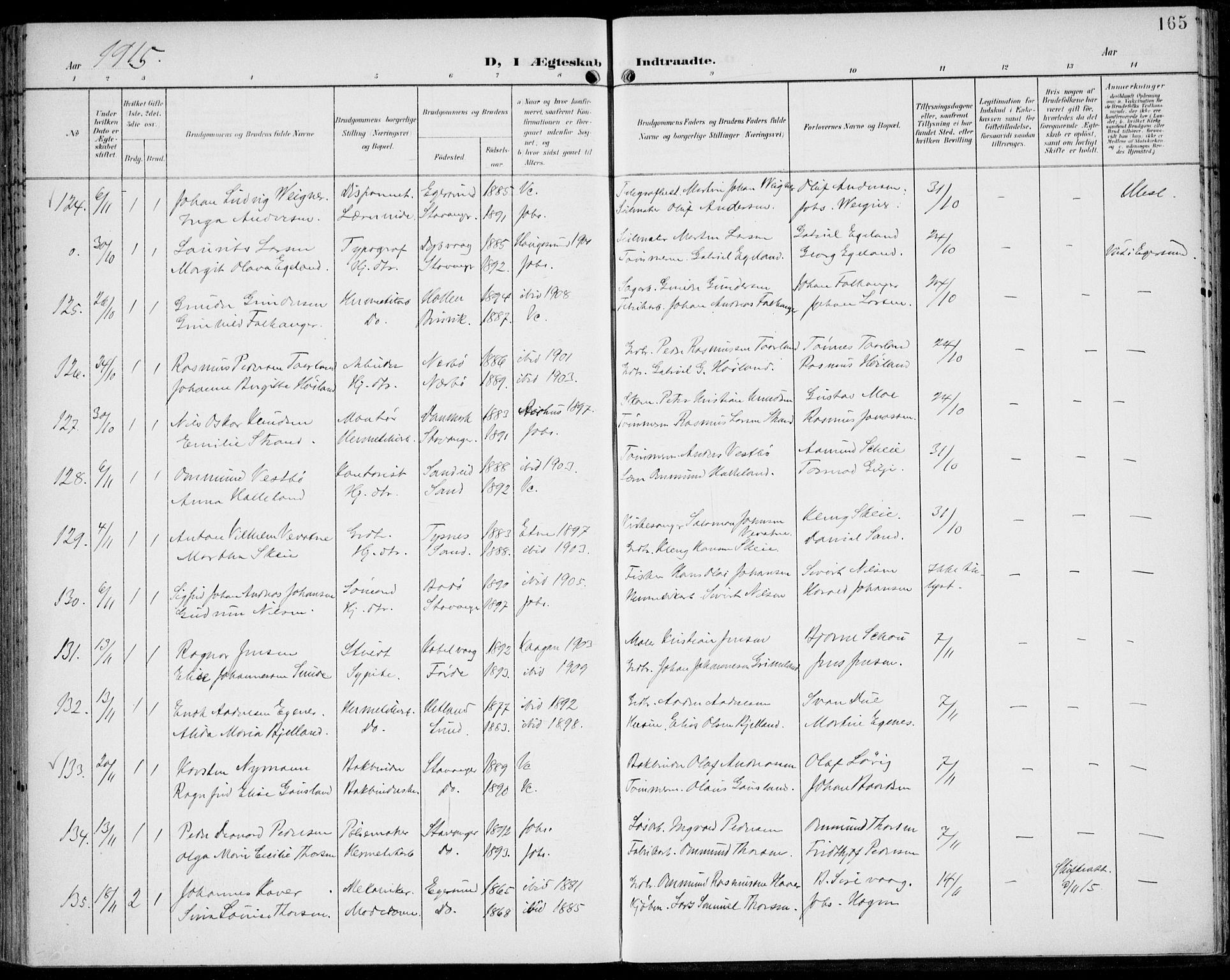 SAST, St. Johannes sokneprestkontor, 30/30BA: Ministerialbok nr. A 8, 1899-1917, s. 165