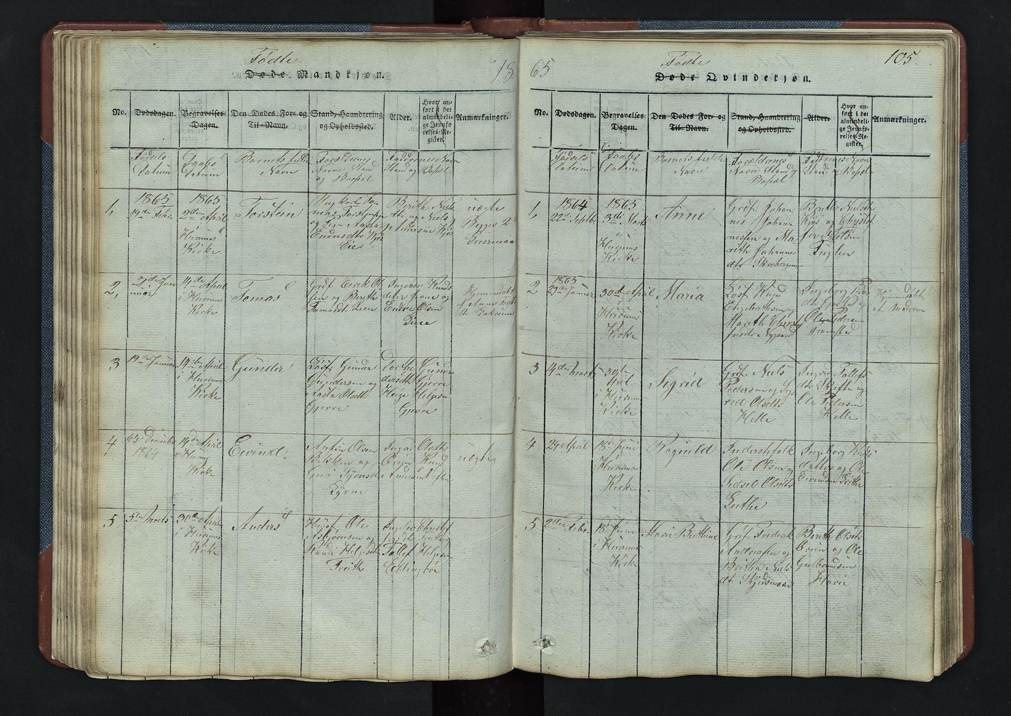 SAH, Vang prestekontor, Valdres, Klokkerbok nr. 3, 1814-1892, s. 105