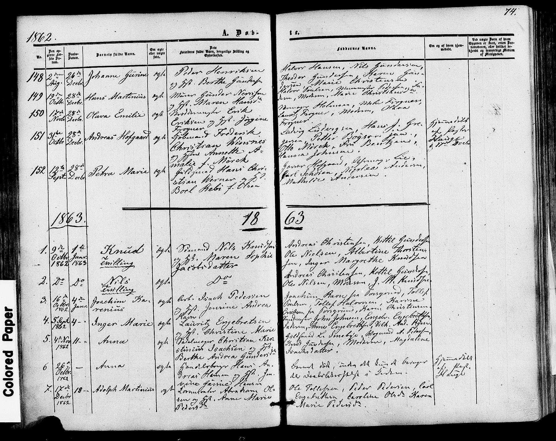 SAKO, Skien kirkebøker, F/Fa/L0007: Ministerialbok nr. 7, 1856-1865, s. 74
